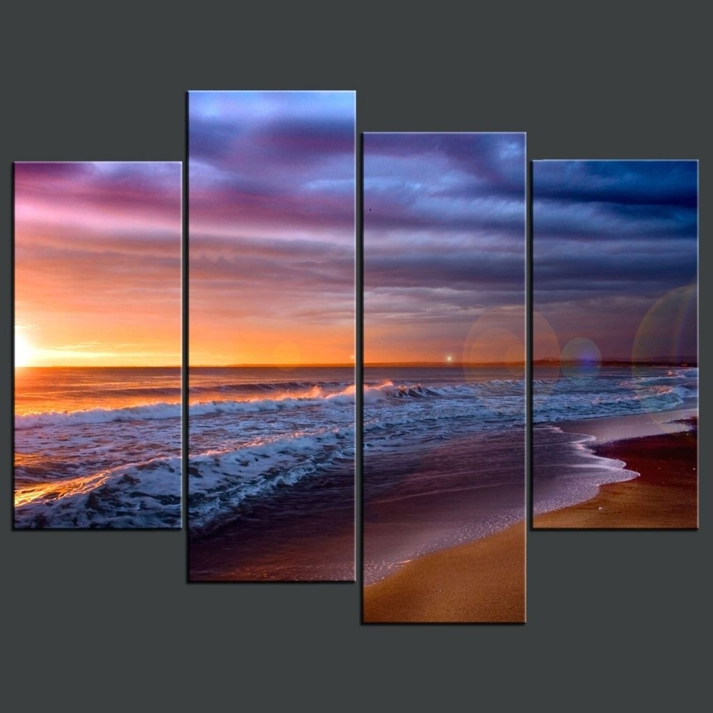 Popular Wall Arts ~ Sunset Beach Blue Split Canvas Wall Art Beach Themed Within Split Wall Art (View 12 of 15)