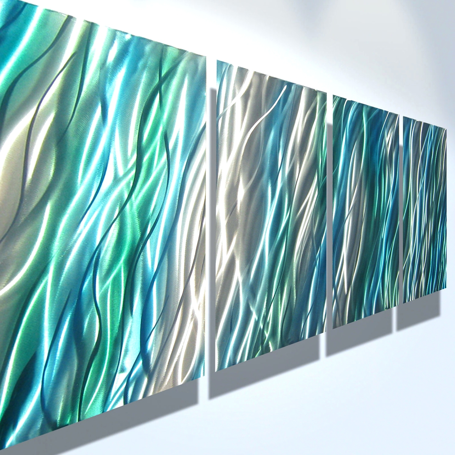 Popular Wall Arts ~ Teal Coloured Metal Wall Art Navy Blue And Beige Wall Intended For Blue And Green Wall Art (View 10 of 15)