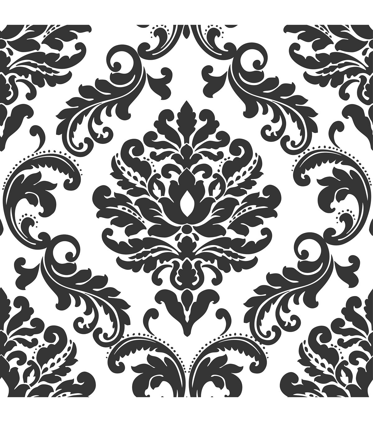 Popular Wallpops® Nuwallpaper Ariel Black And White Damask Peel And Stick Throughout Black And White Damask Wall Art (View 9 of 15)