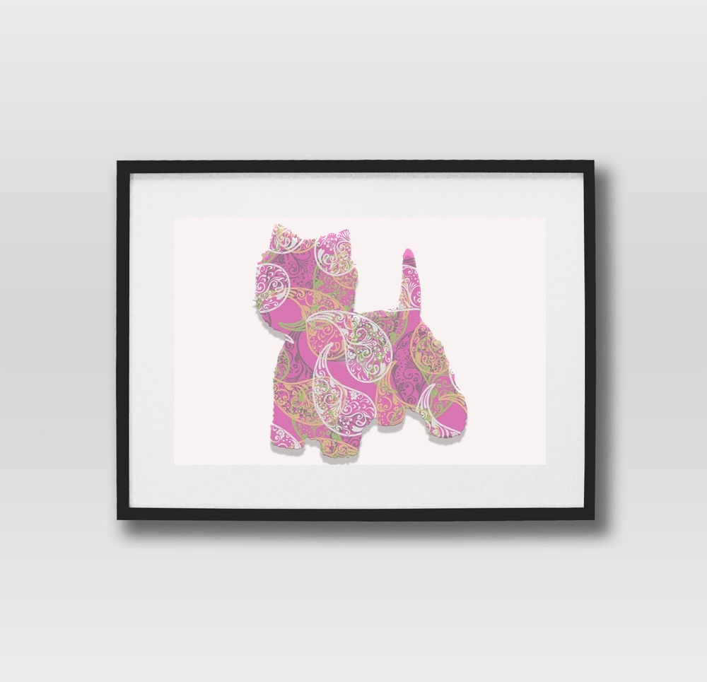 Popular Westie Wall Art Pertaining To Littlebear Pink Paisley Westie Pop Art Westminster Highland Dog (View 8 of 15)