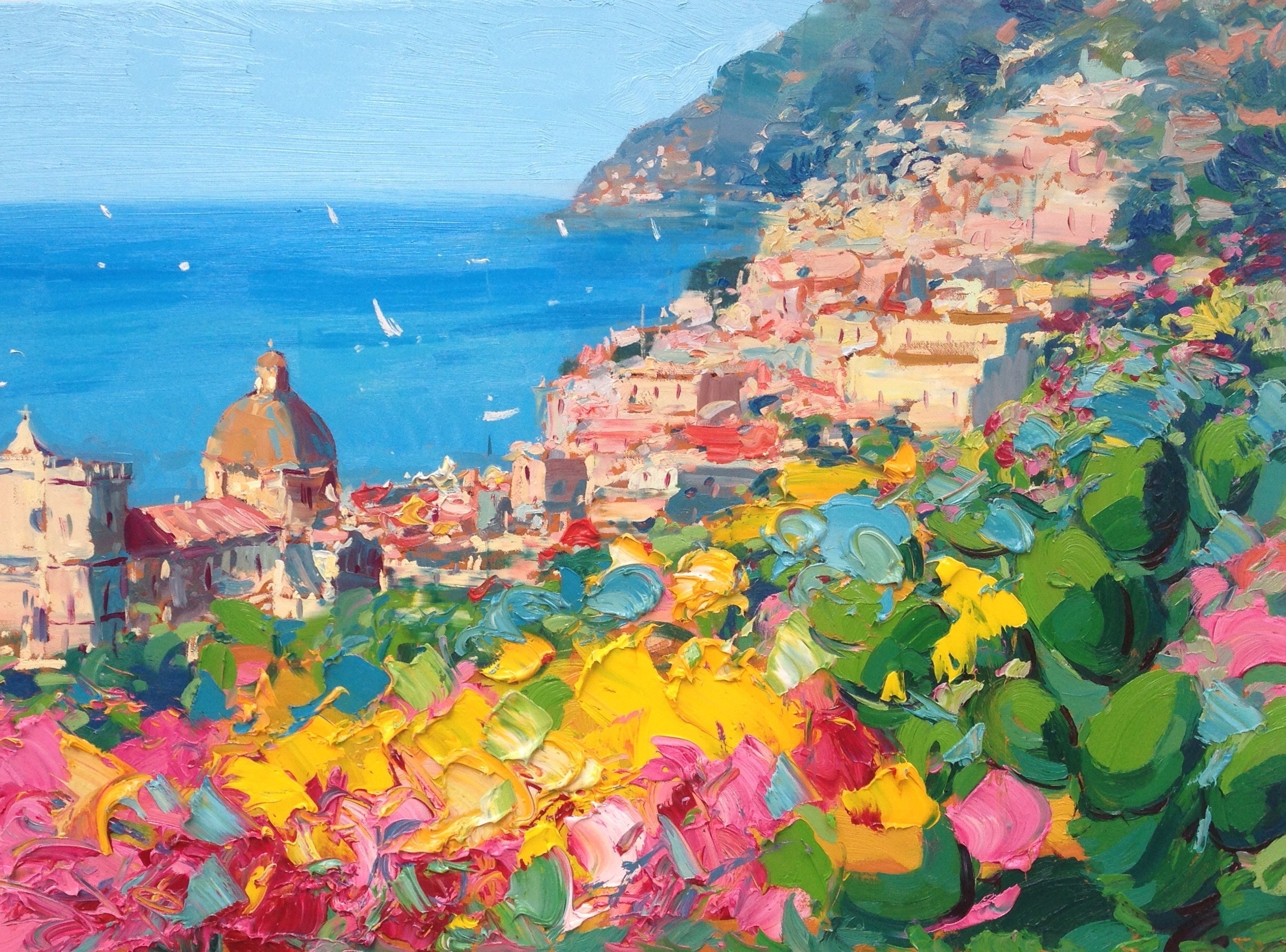 Positano Italy Prints From Original Painting Oil Painting Abstract With Most Popular Italian Coast Wall Art (View 2 of 15)