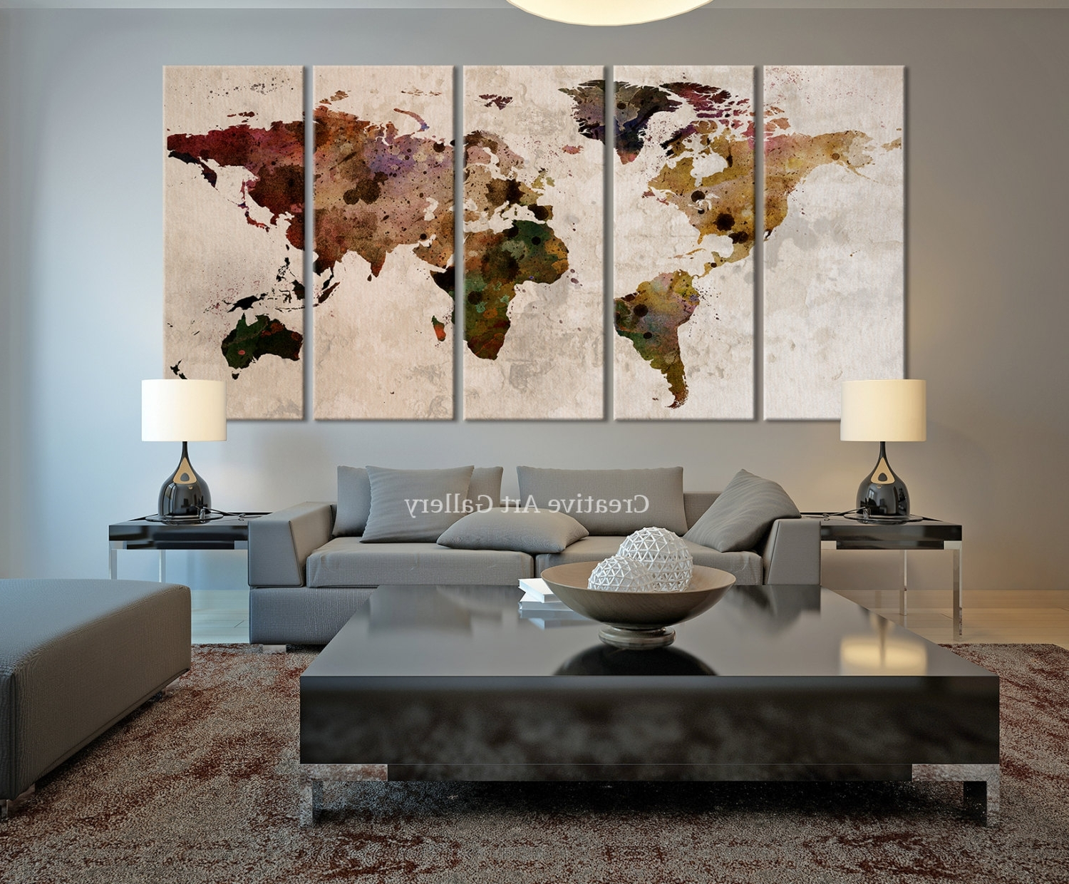 Preferred 20+ Rustic Wall Decor Ideas To Help You Add Rustic Beauty To Your With Regard To Abstract World Map Wall Art (View 12 of 15)