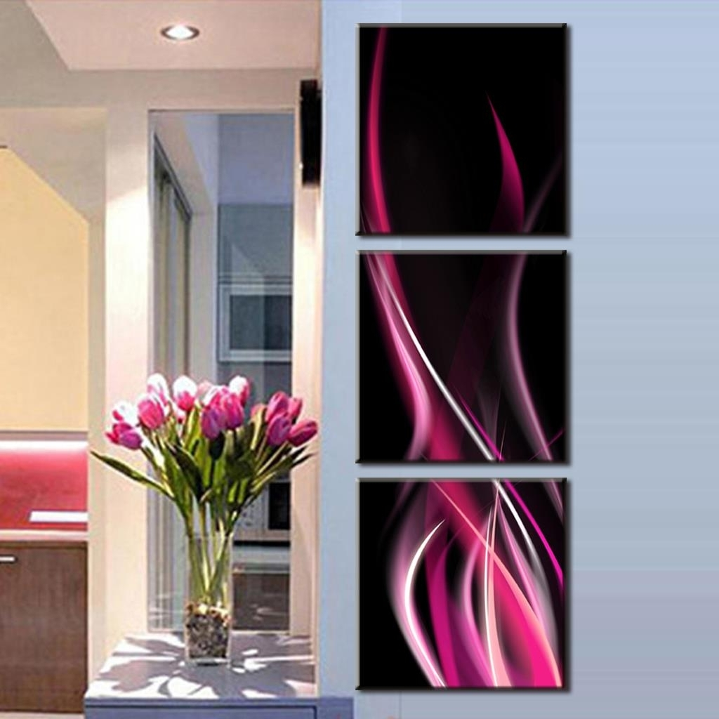 Preferred 2016 Home Decoration 3 Pcs/set Abstract Rose Red Lines Canvas Wall Within Pink Abstract Wall Art (View 6 of 15)