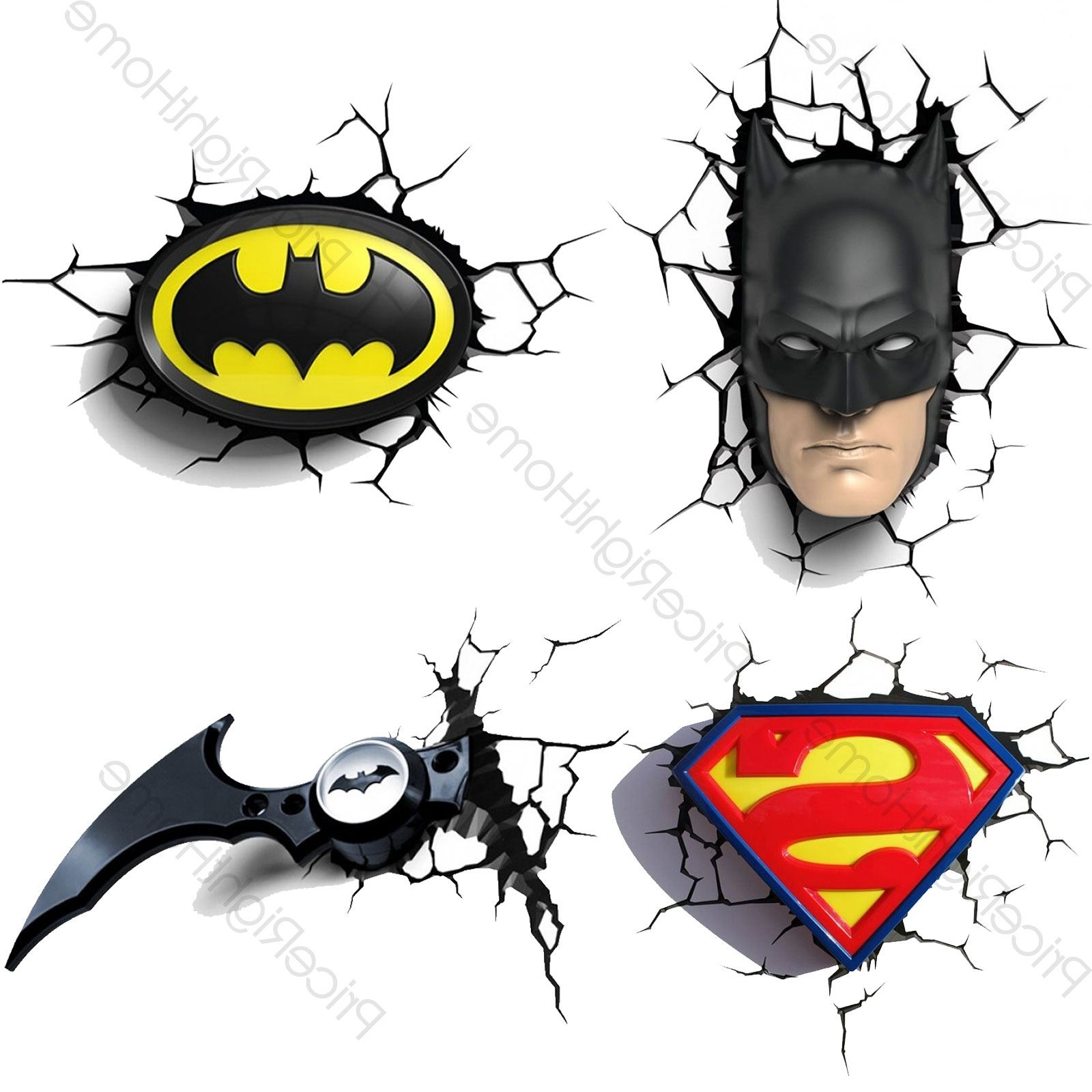 Preferred 3D Wall Art Nightlight With Regard To Dc Comics Batman & Superman 3D Wall Lights Nightlight Bedroom (View 8 of 15)