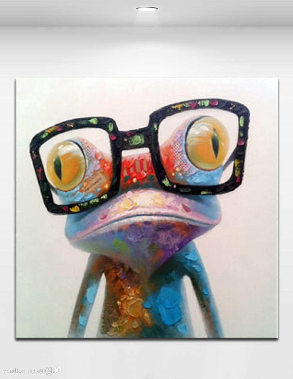 Preferred Abstract Animal Wall Art Pertaining To Happy Frog Wearing Glasses Cartoon Animal Handpainted Oil Painting (View 15 of 15)