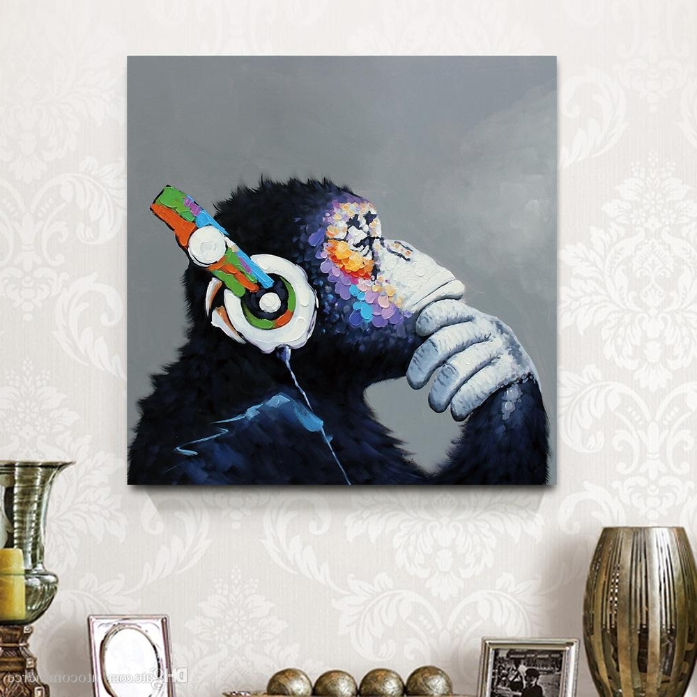 Preferred Abstract Animal Wall Art Regarding 2018 Framed Funny Thinking Monkey Series,canvas Painting Modern (View 9 of 15)