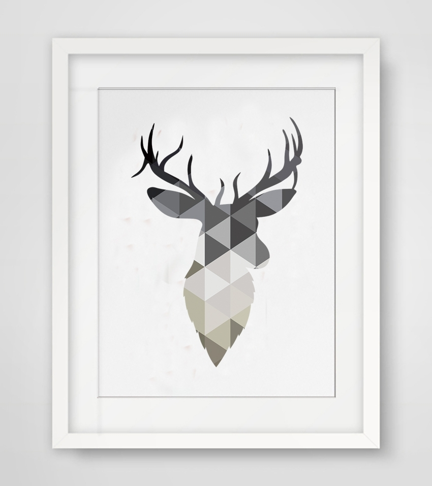 Preferred Abstract Deer Wall Art For Cotill Geometric Deer Head Canvas Painting Pictures Wall Art (View 10 of 15)