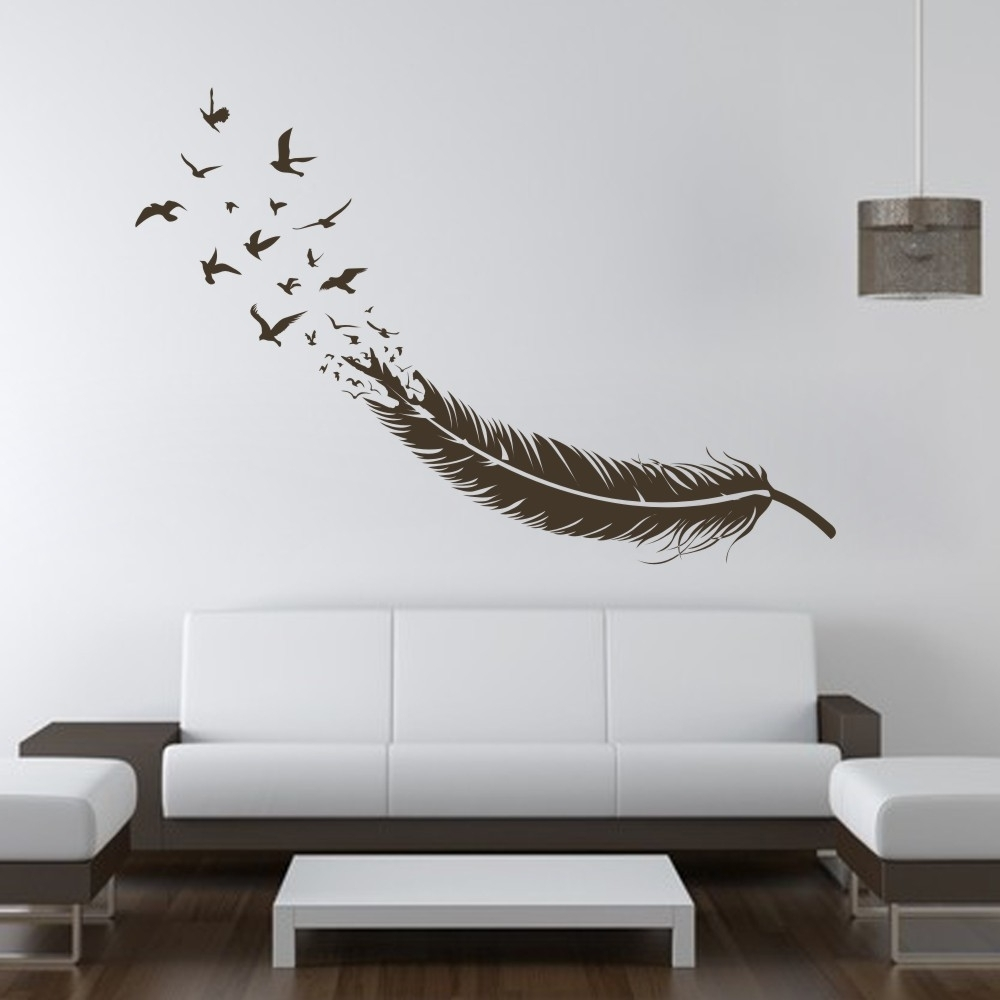 Preferred Abstract Feather Into Birds Vinyl Wall Decal Custom Your Color Regarding Abstract Art Wall Decal (View 8 of 15)