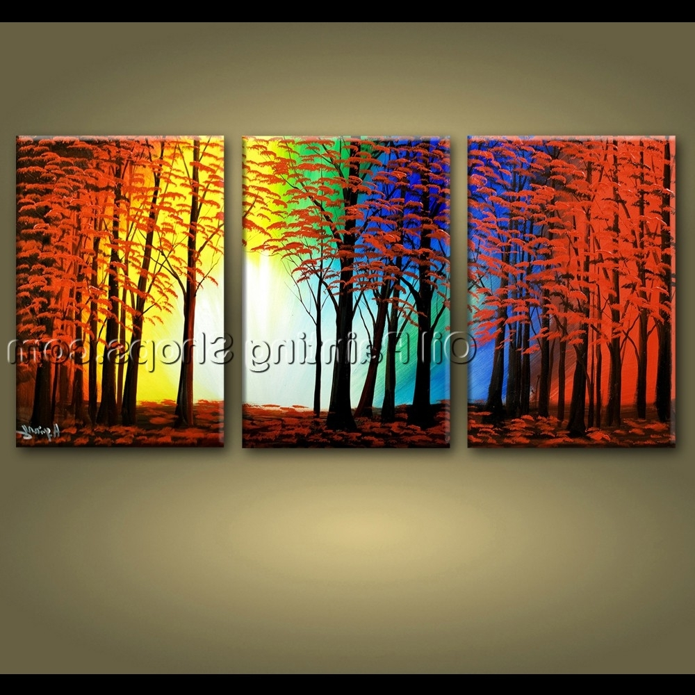 Preferred Abstract Landscape Wall Art With Regard To Large Wall Art Hand Painted Abstract Landscape Sunset Tree Road (View 5 of 15)