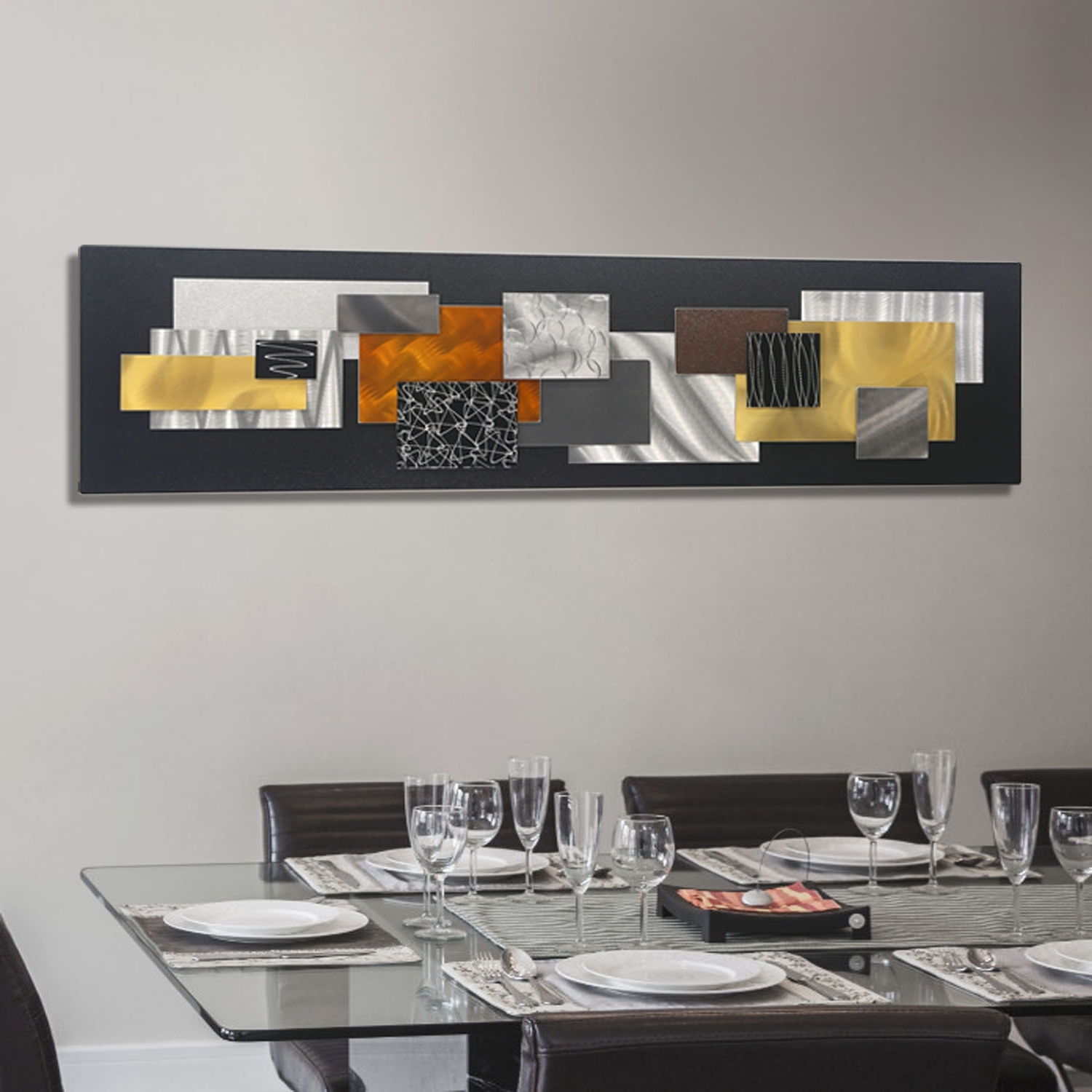 Preferred Abstract Metal Wall Art In City In Falljon Allen – Black, Silver, Gold & Copper Geometric (View 11 of 15)