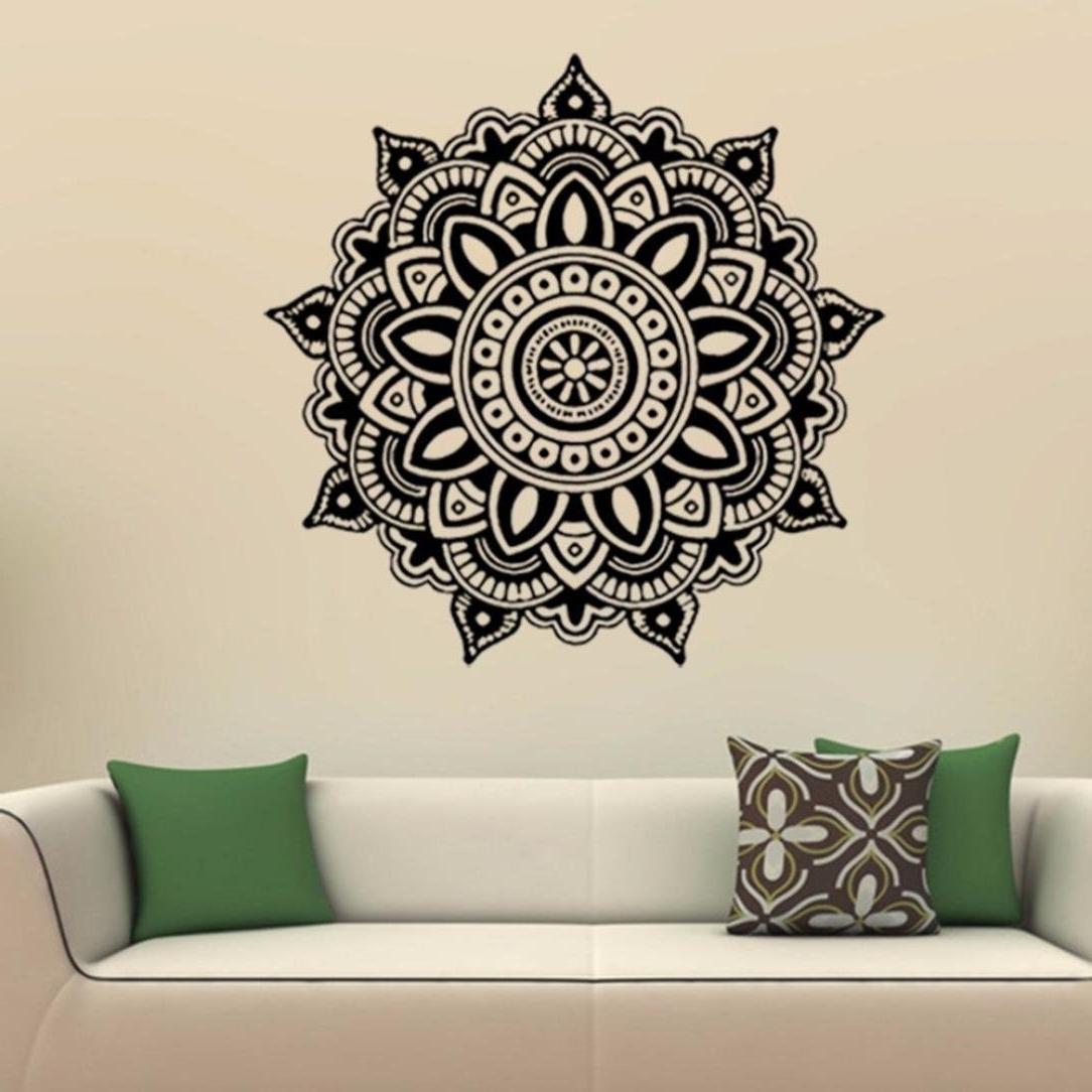Preferred Amazon: Allywit Mandala Flower Indian Bedroom Wall Decal Art Regarding Pattern Wall Art (View 12 of 15)