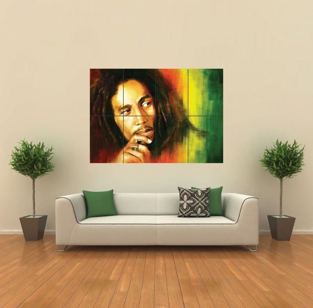 Preferred Amazon: Bob Marley In Rasta Colors Giant Wall Art Poster G430 Inside Bob Marley Canvas Wall Art (View 13 of 15)