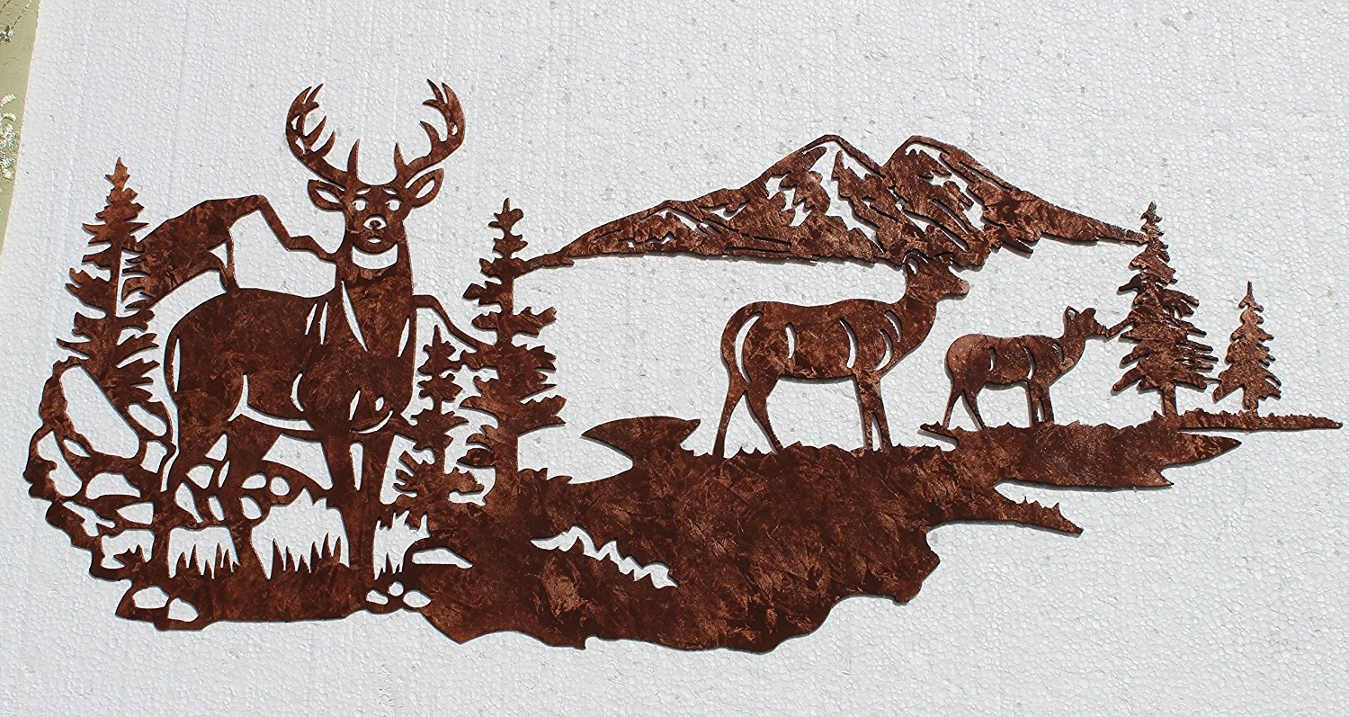 Preferred Amazon: Buck With Does, Deer Mountain Scene Metal Wall Art Regarding Country Metal Wall Art (View 7 of 15)