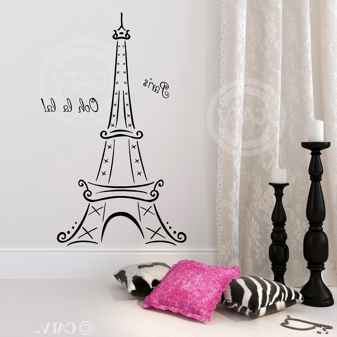 Preferred Amazon: Eiffel Tower Ooh La La Paris Vinyl Wall Decal Sticker Within Paris Vinyl Wall Art (View 10 of 15)