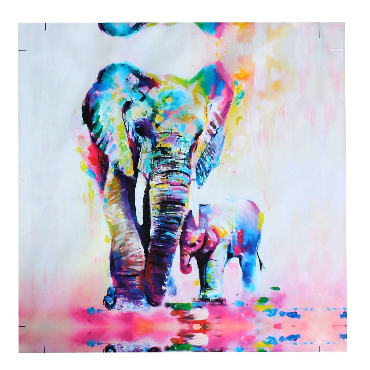 Preferred Amazon: Mohoo 50X50Cm Elephant Oil Painting Canvas Wall Art With Regard To Abstract Elephant Wall Art (View 9 of 15)