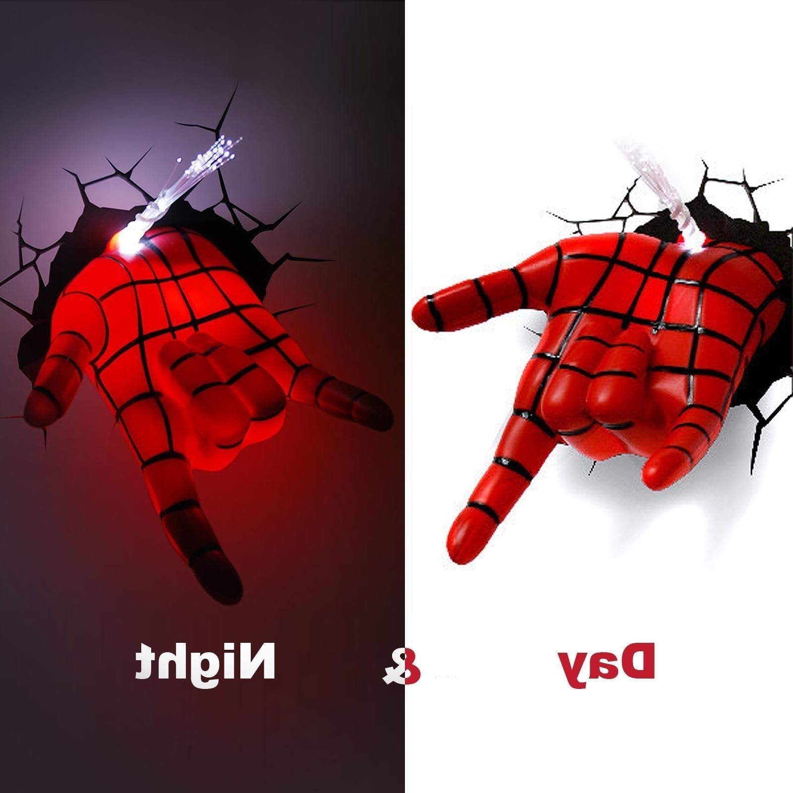 Preferred Avengers 3d Wall Art For Marvel Avengers Spider Man Hand 3d Deco Wall Led Night Light Art (View 13 of 15)