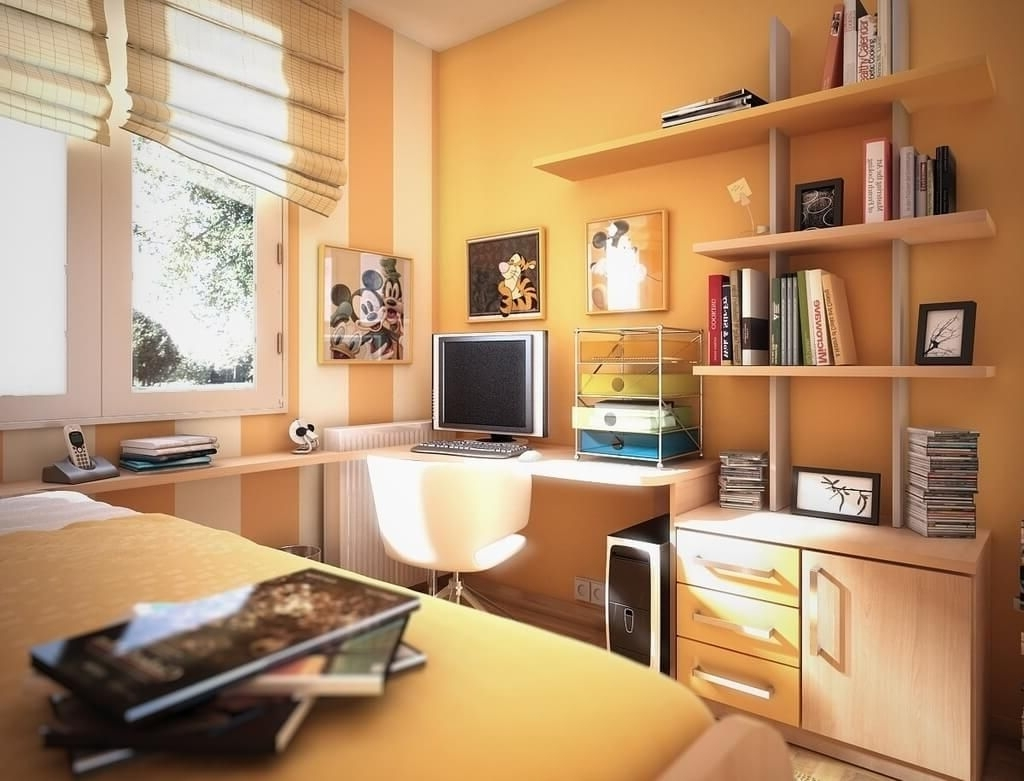 Preferred Bedroom Design: Yellow Teen Bedroom Decor Inspiration With Wall With Computer Wall Art (View 14 of 15)