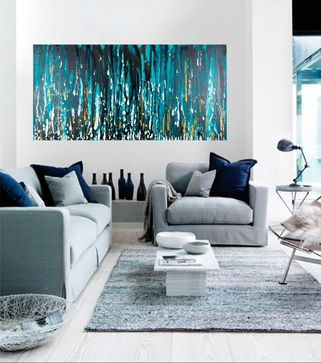 "Preferred Black And Teal Wall Art Within Meteor Showerqiqigallery 48""x24"" Stretched Canvas Original (View 11 of 15)"