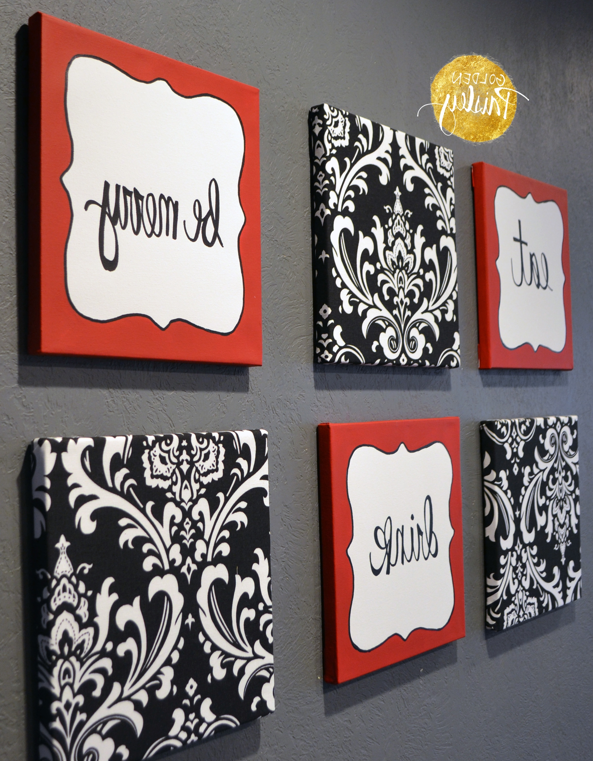 """Preferred Black And White Damask Wall Art With Red And Black Damask Eat Drink Be Merry """"Chef"""" Wall Decor Set (View 10 of 15)"""