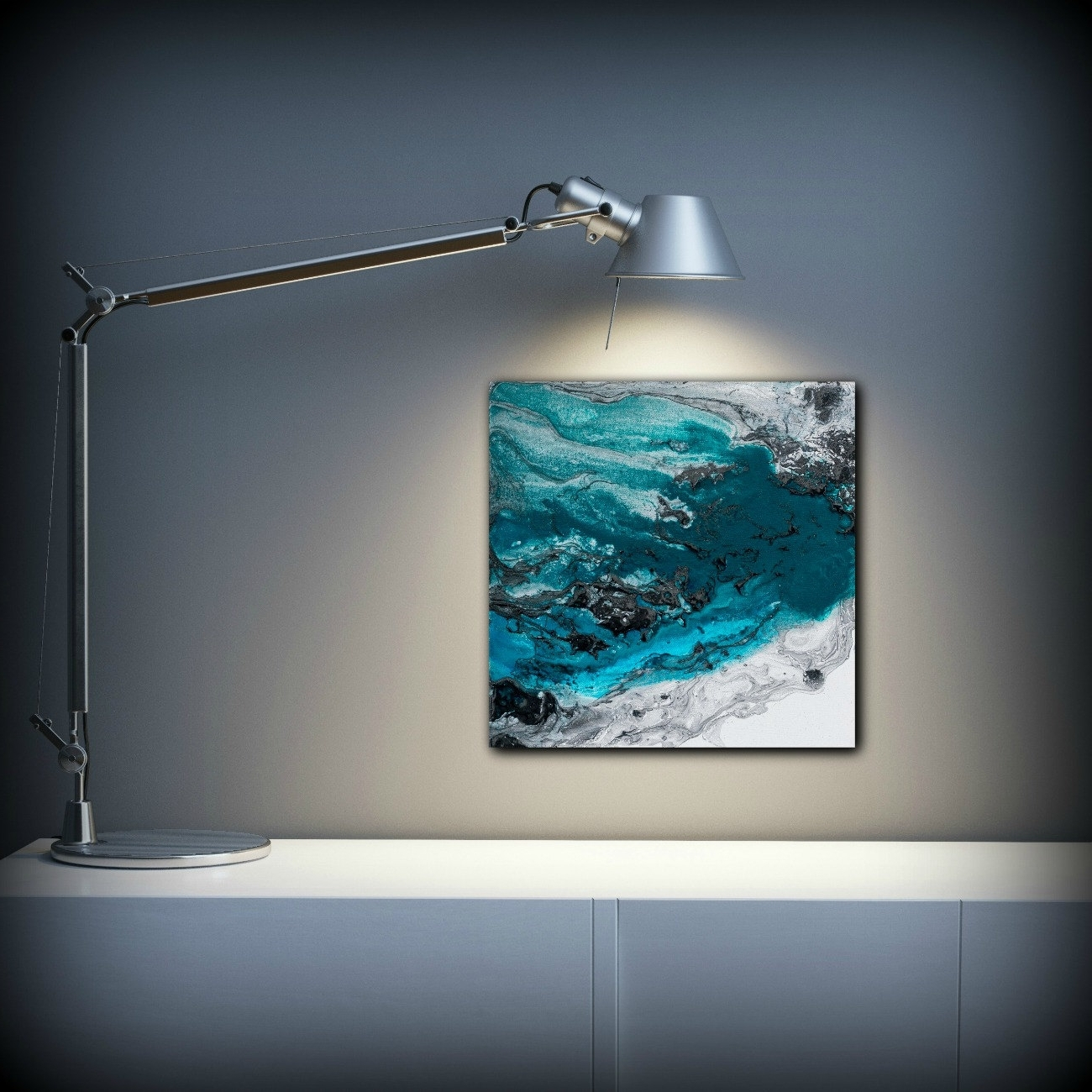 Preferred Blue Painting Square, Fine Art Prints Abstract Painting, Black Intended For Teal And Black Wall Art (View 10 of 15)