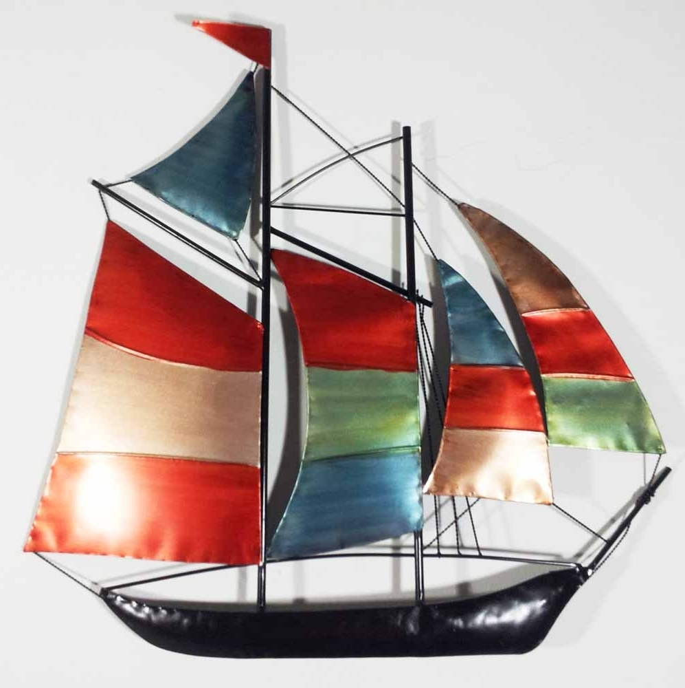 Preferred Boat Wall Art For Metal Wall Art – Colour Sailing Ship Yacht (View 5 of 15)