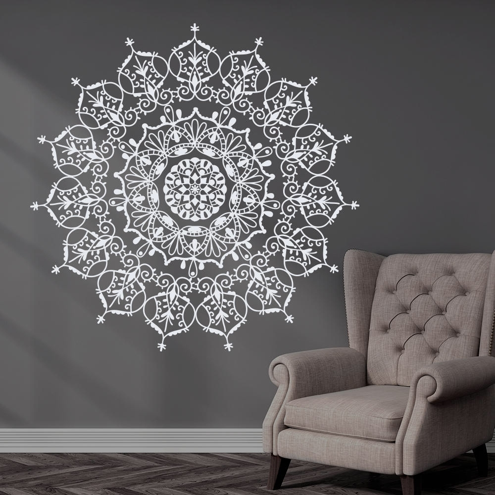 Preferred Bohemian Indian Pattern Mandala Wall Decals Floral Vinyl Stickers With Regard To Pattern Wall Art (View 11 of 15)