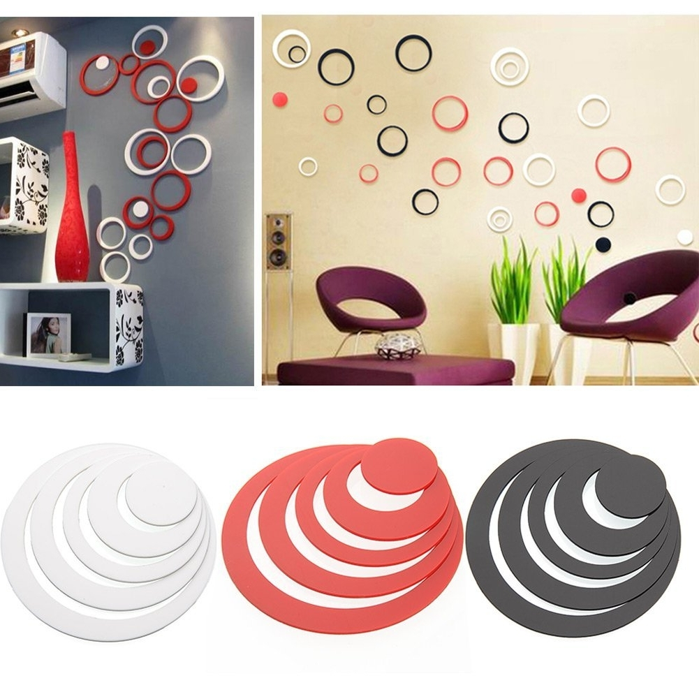 Preferred Buy Wow Acrylic 3d Bright Circle Black, Red &white Home And Office With Regard To Circles 3d Wall Art (View 8 of 15)