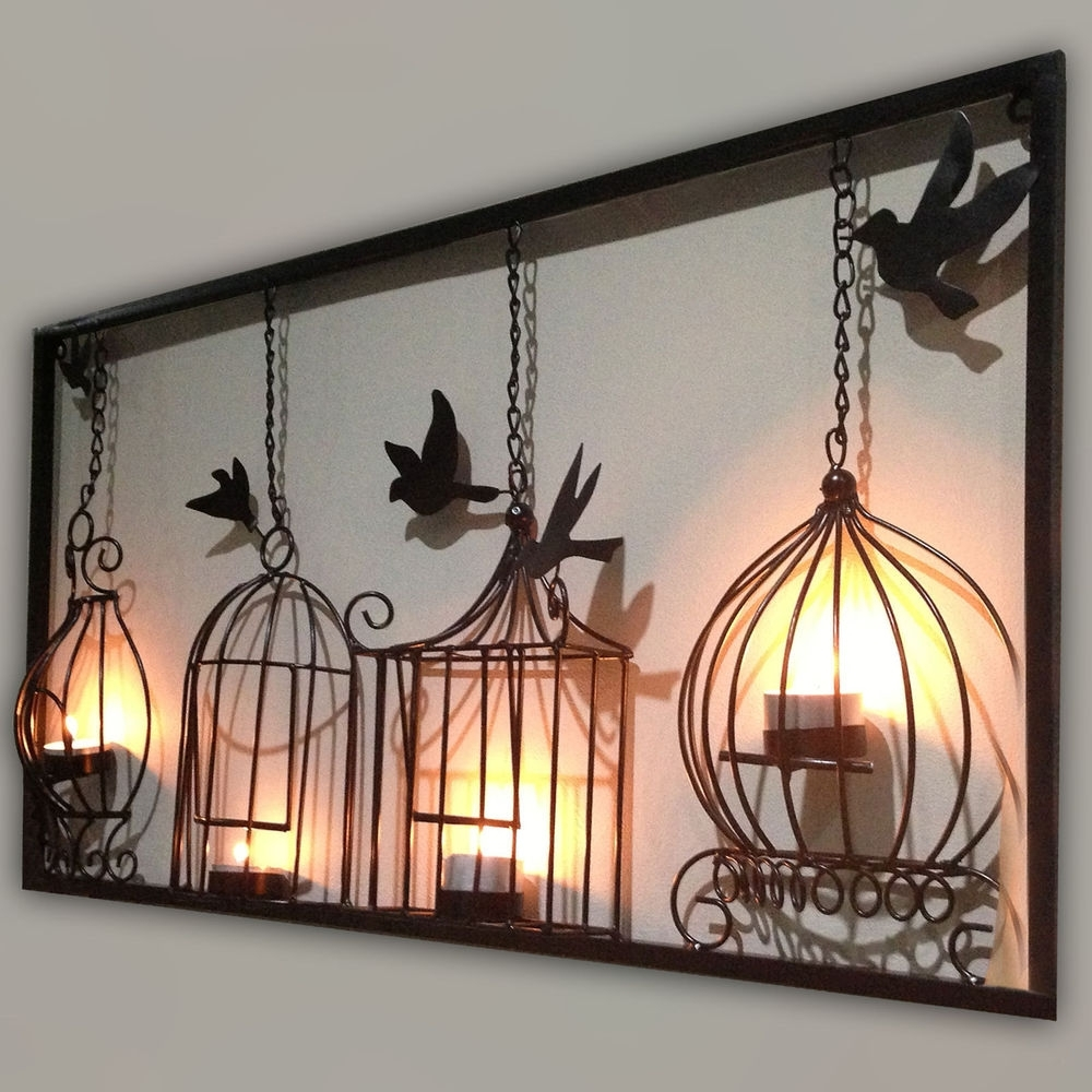 Preferred Charming Patio Chandelier Outdoor Birdcage Tea Light Wall Art Within Large Metal Wall Art For Outdoor (View 12 of 15)