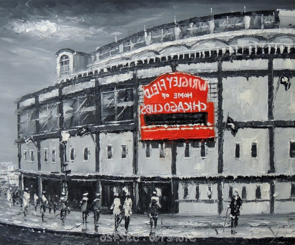 Preferred Chicago Cubs Wall Art Intended For Chicago Cubs Baseball Stadium Wrigley Field Black & White (View 12 of 15)
