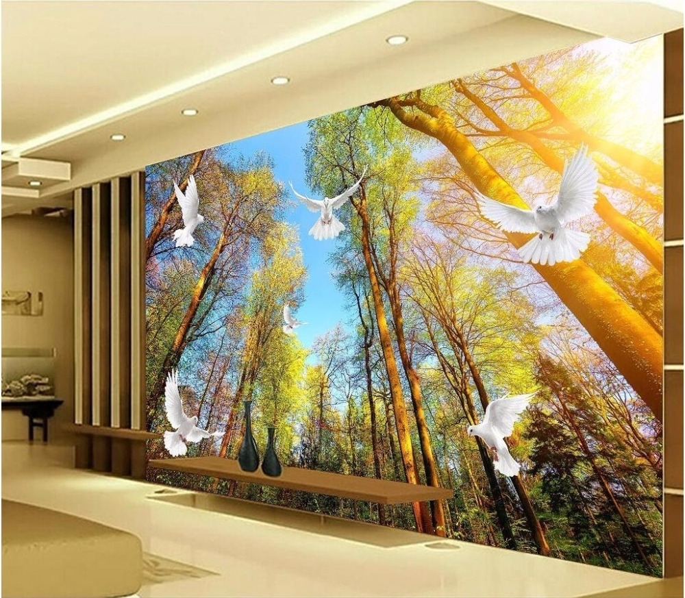 Preferred Custom Photo Mural 3D Wallpaper Forest Landscape Dove Decoration Intended For 3D Wall Art Wallpaper (View 10 of 15)