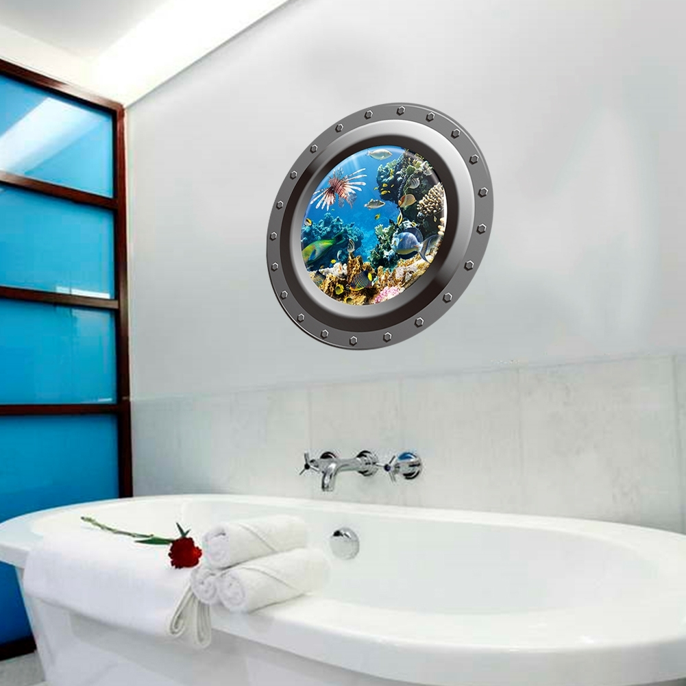 Preferred Fish Decals For Bathroom Pertaining To 3D Ocean View Fish Window Wall Sticker Nursery Bathroom Decals Sea (View 12 of 15)