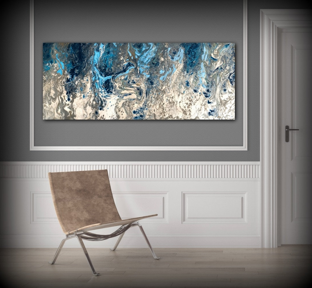 Preferred Gray And White Wall Art Throughout Large Abstract Painting Print Navy Blue Print Art Large Canvas Art (View 8 of 15)