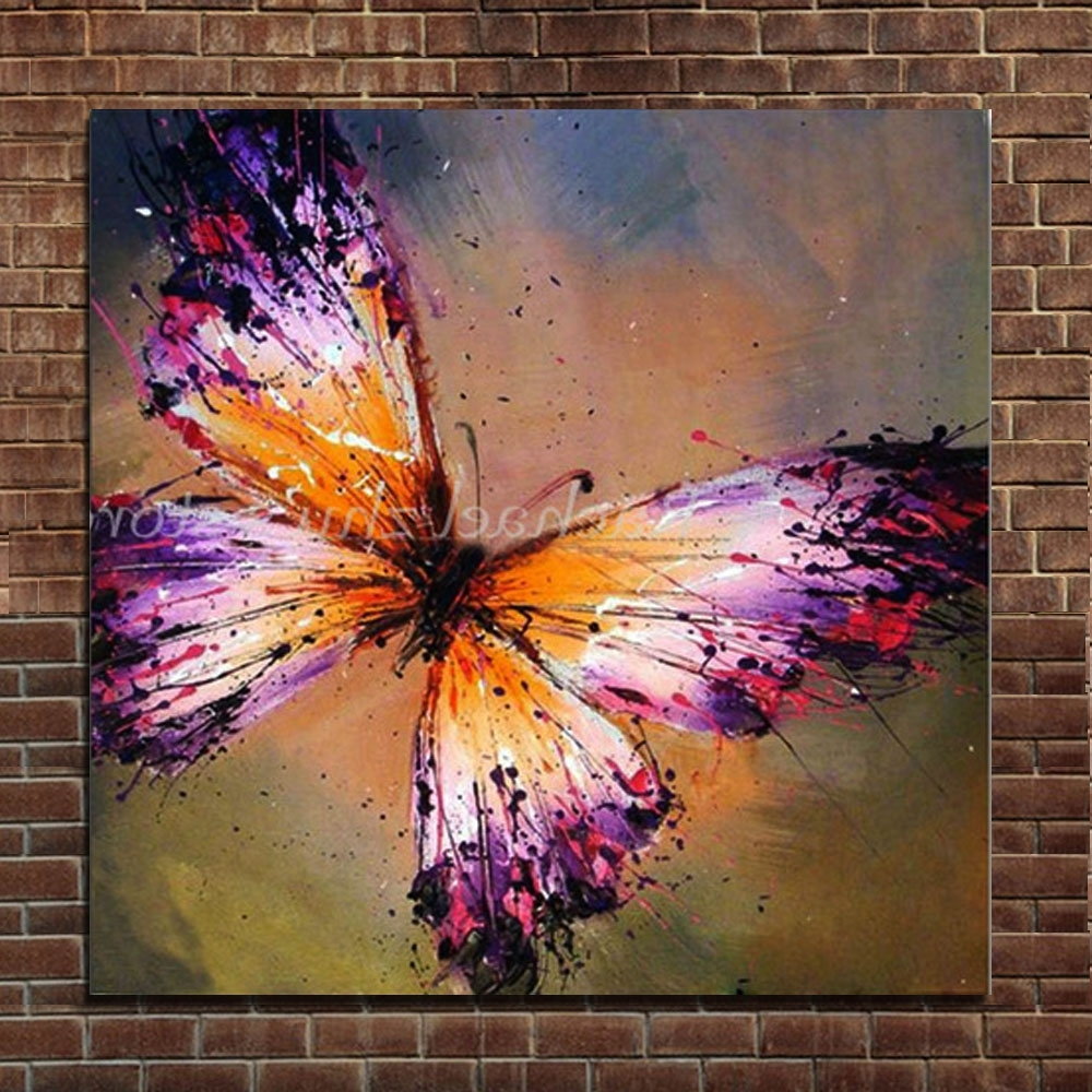 Preferred Hand Painted Abstract Purple Butterfly Oil Painting On Canvas Regarding Abstract Butterfly Wall Art (View 7 of 15)