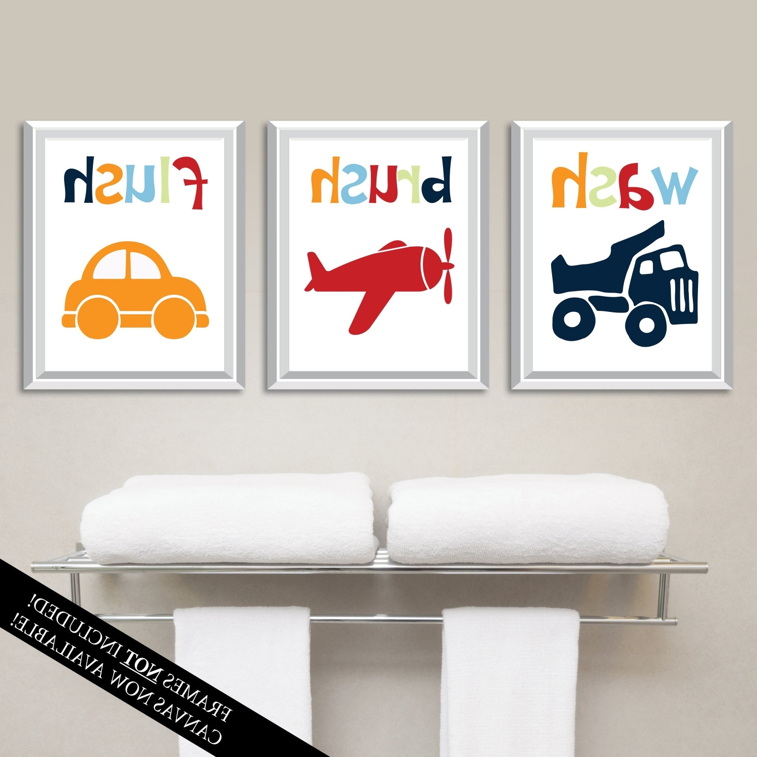 Preferred Kids Bathroom Wall Art Throughout Transportation Bathroom Art Prints. Kids Bathroom Art (View 10 of 15)