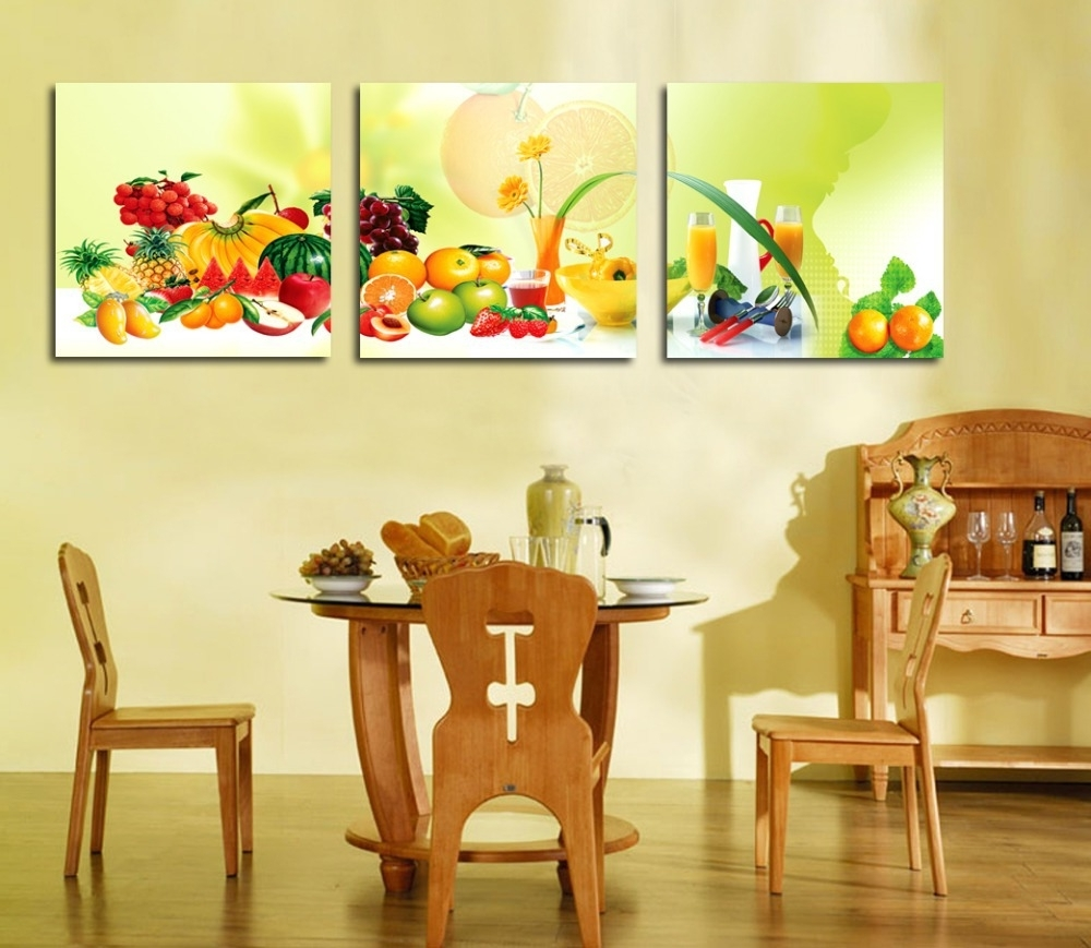 Preferred Kitchen And Dining Wall Art Inside 3 Piece Canvas Art Home Decoration Wall Art Painting Fruit Wall (View 14 of 15)