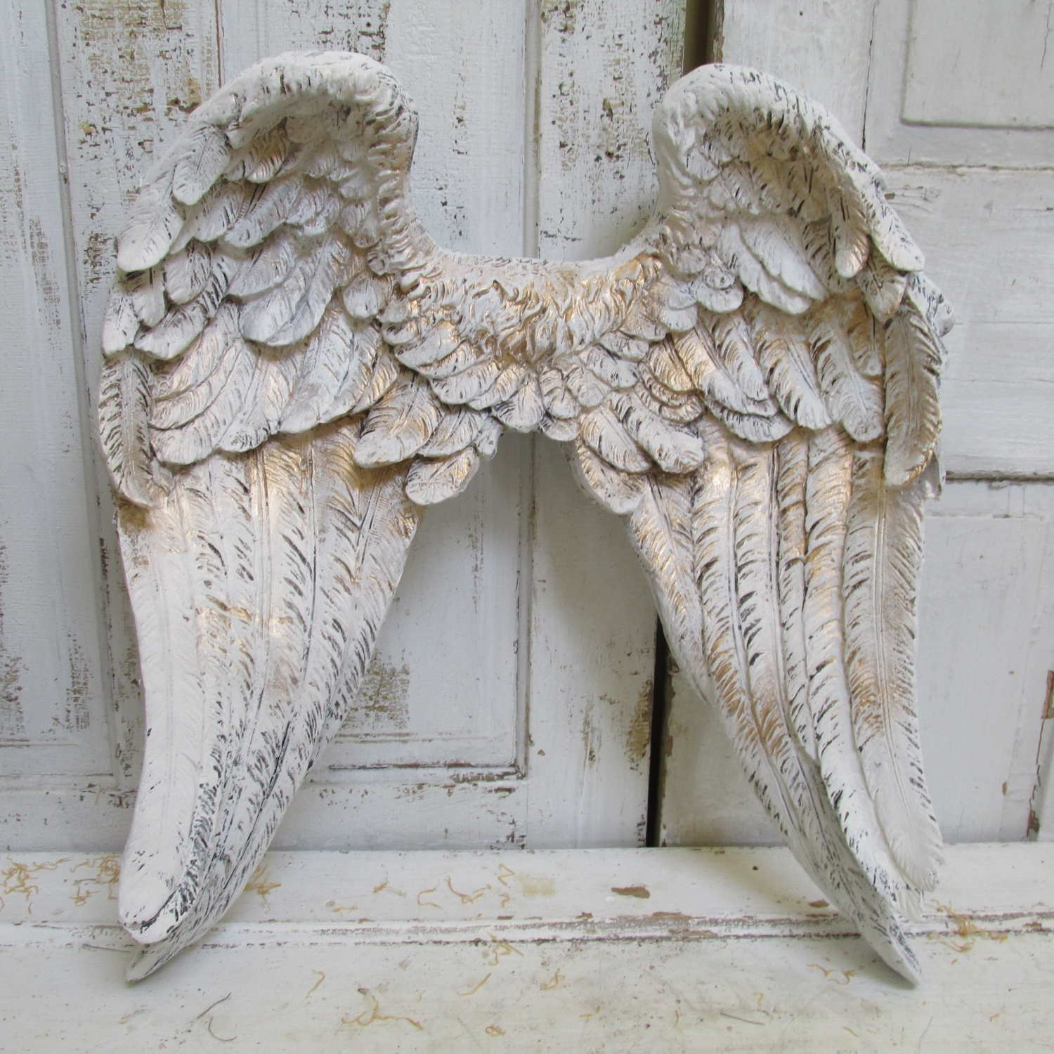 Preferred Large Angel Wings Wall Sculpture Hand Painted White Accented Inside Angel Wings Sculpture Plaque Wall Art (View 10 of 15)