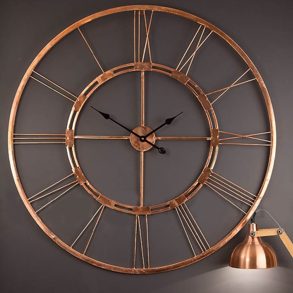 Attractive Preferred Large Copper Wall Art Within Large Copper Color Wall Clock Metal Wall  Art Sculpture Wall