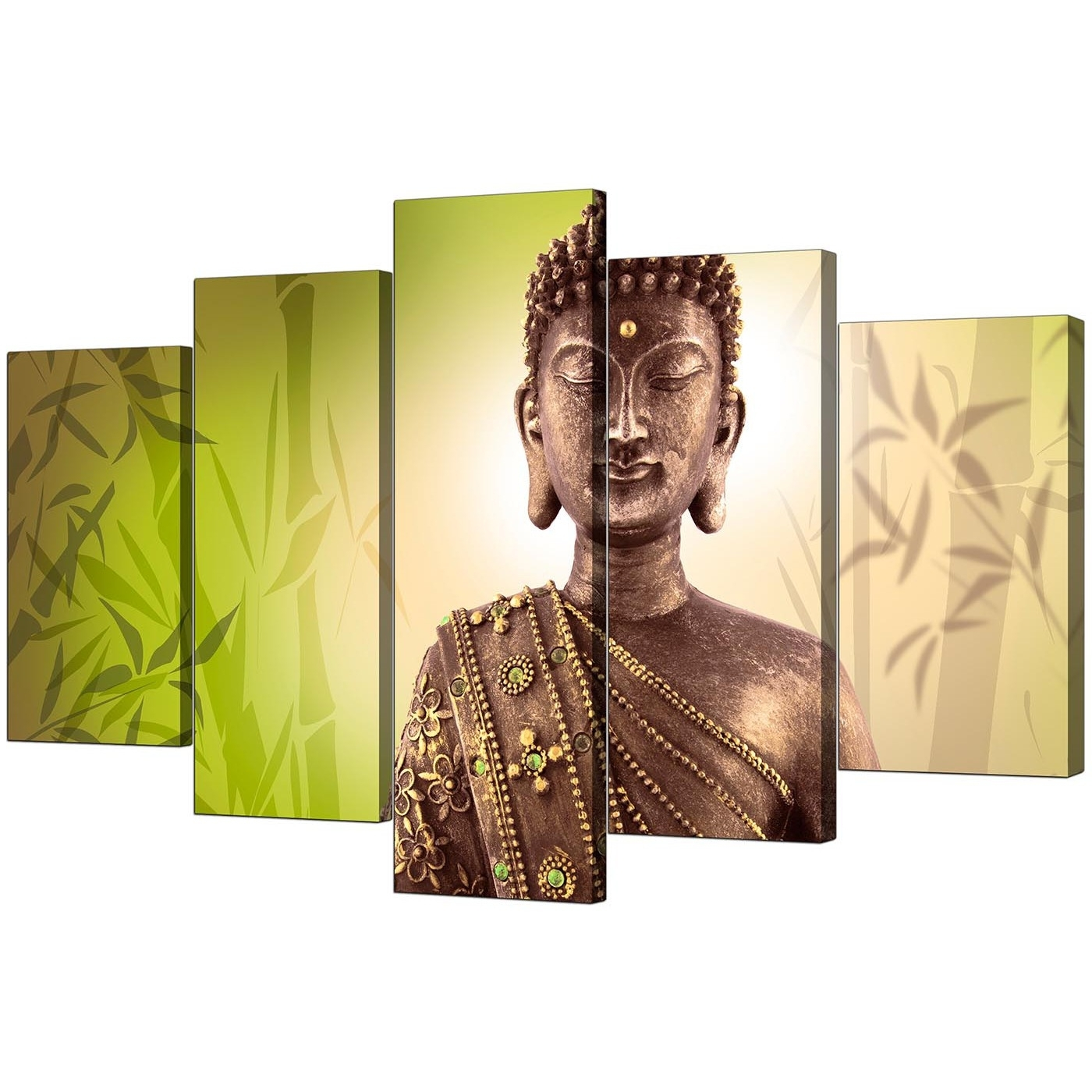 Preferred Large Green Wall Art In Extra Large Buddha Canvas Wall Art 5 Piece In Green (View 14 of 15)