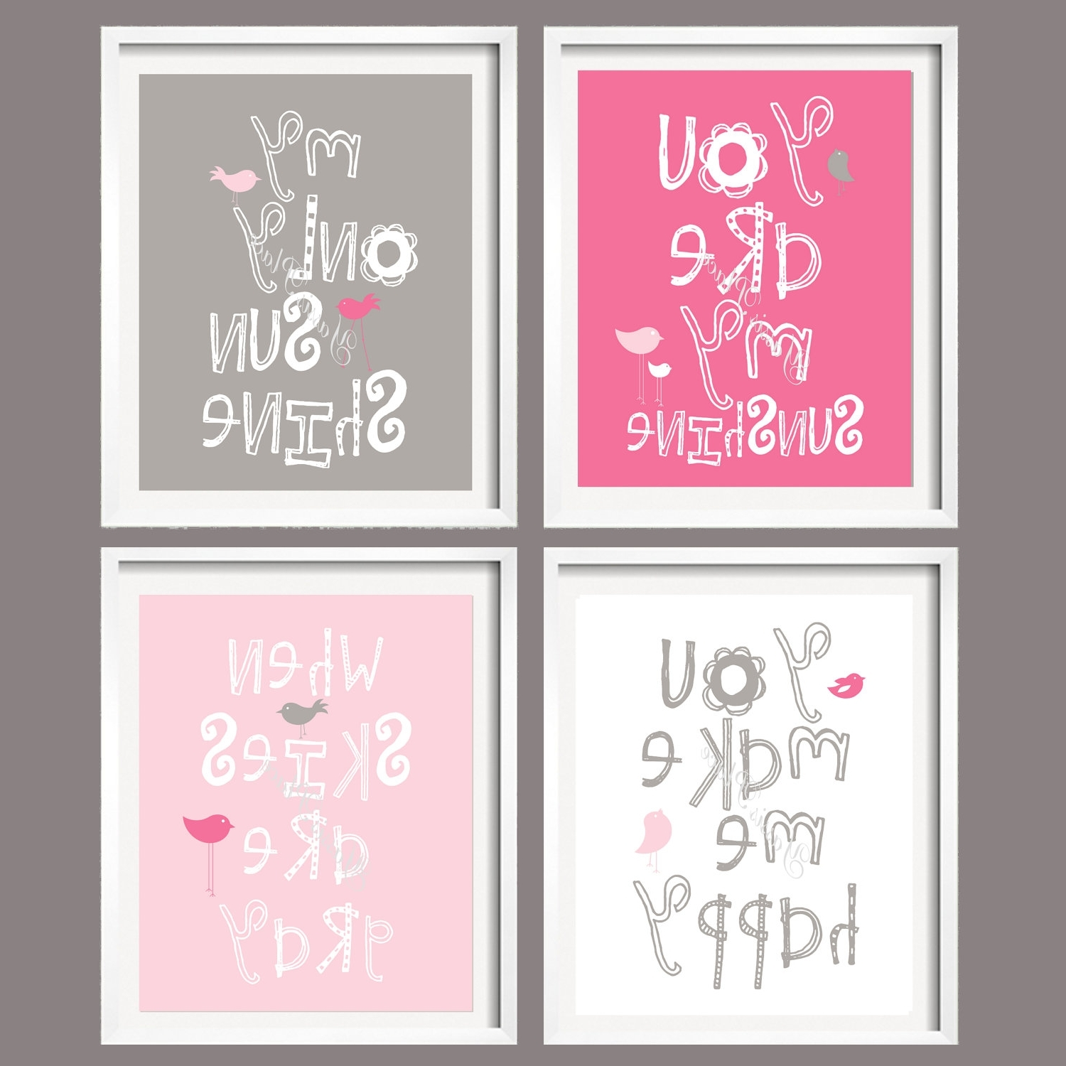 Preferred Nursery Print – You Are My Sunshine – Pink And Grey – 5X7 Wall Art With Little Girl Wall Art (View 10 of 15)