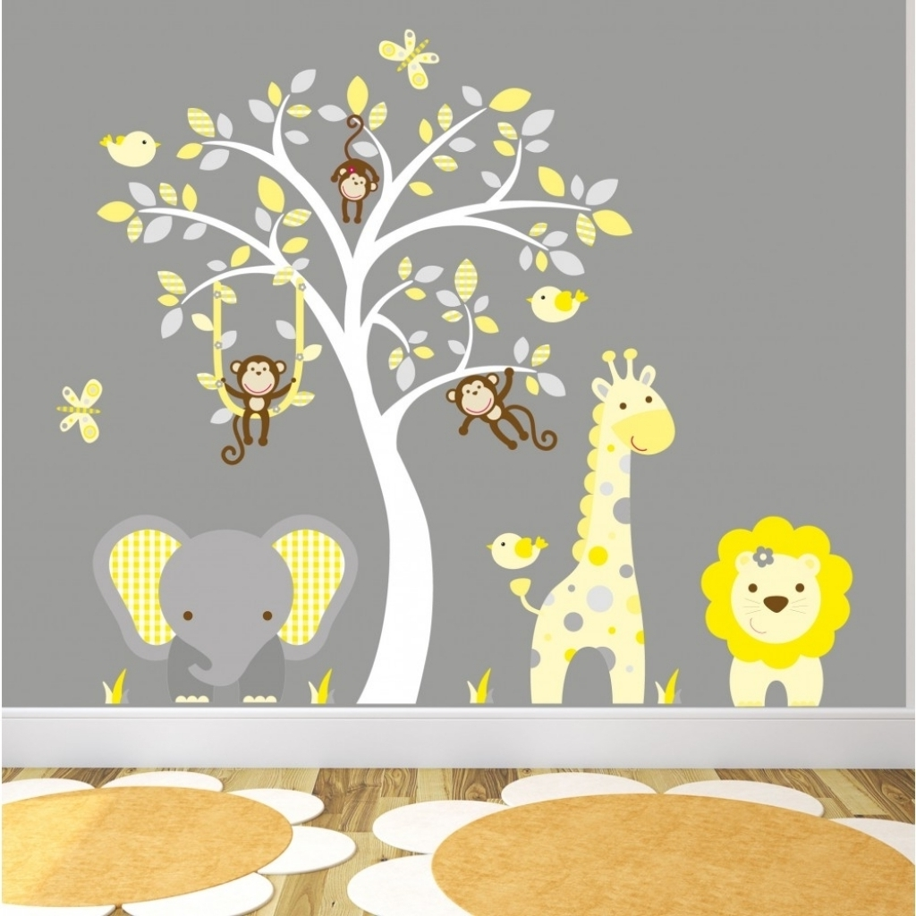 Preferred Nursery Wall Art Within Art Wall Art For Nursery Jungle Animal Nursery Wall Art Stickers (View 13 of 15)