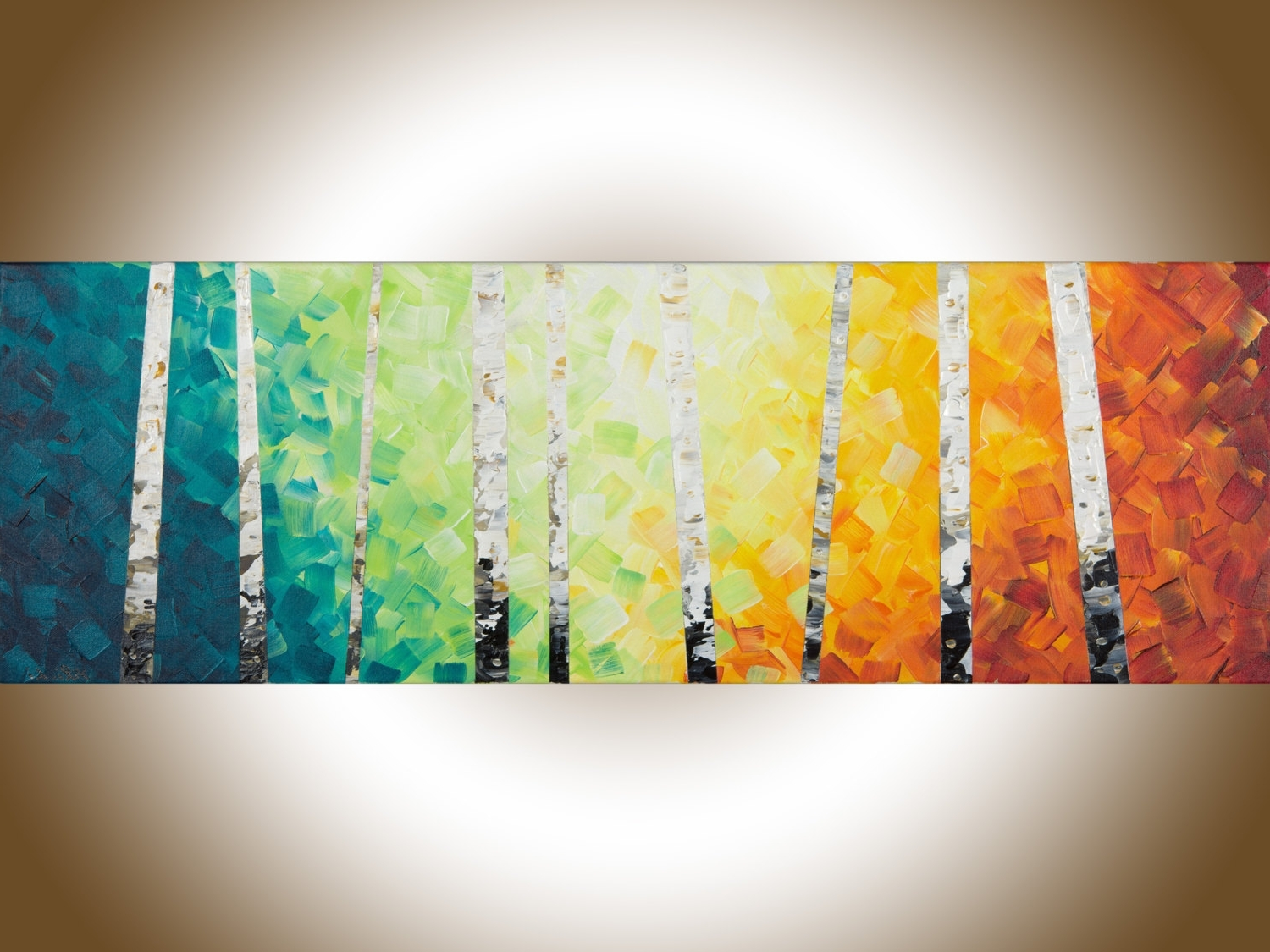 Preferred Orange And Turquoise Wall Art Regarding Colourful Painting Narrow Wall Art Birch Rainbow Color Painting On (View 11 of 15)