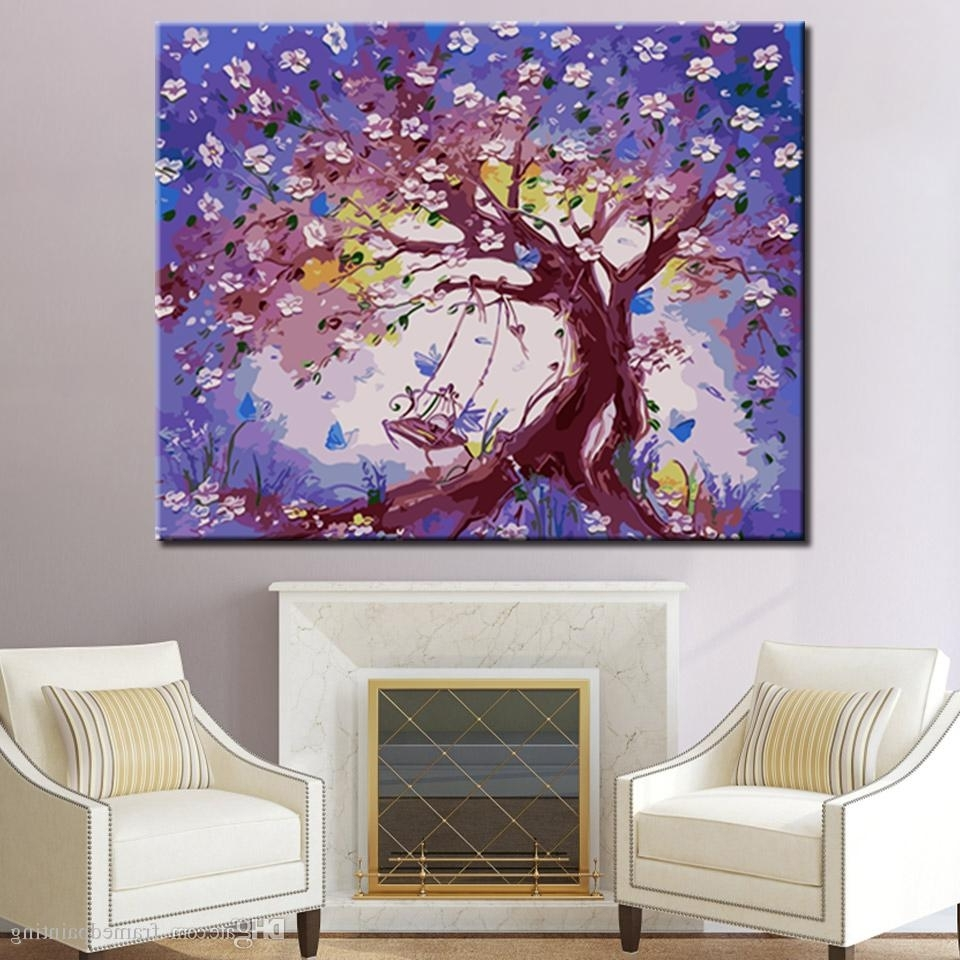 Preferred Plum Wall Art Throughout 2018 Diy Digital Swing On The Plum Blossom Tree Oil Painting (View 14 of 15)
