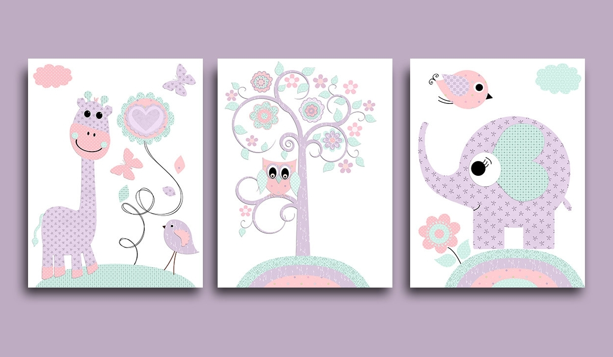 Preferred Purple Mink Pink Owl Nursery Canvas Art Giraffe Elephant Nursery Inside Nursery Canvas Art (View 13 of 15)