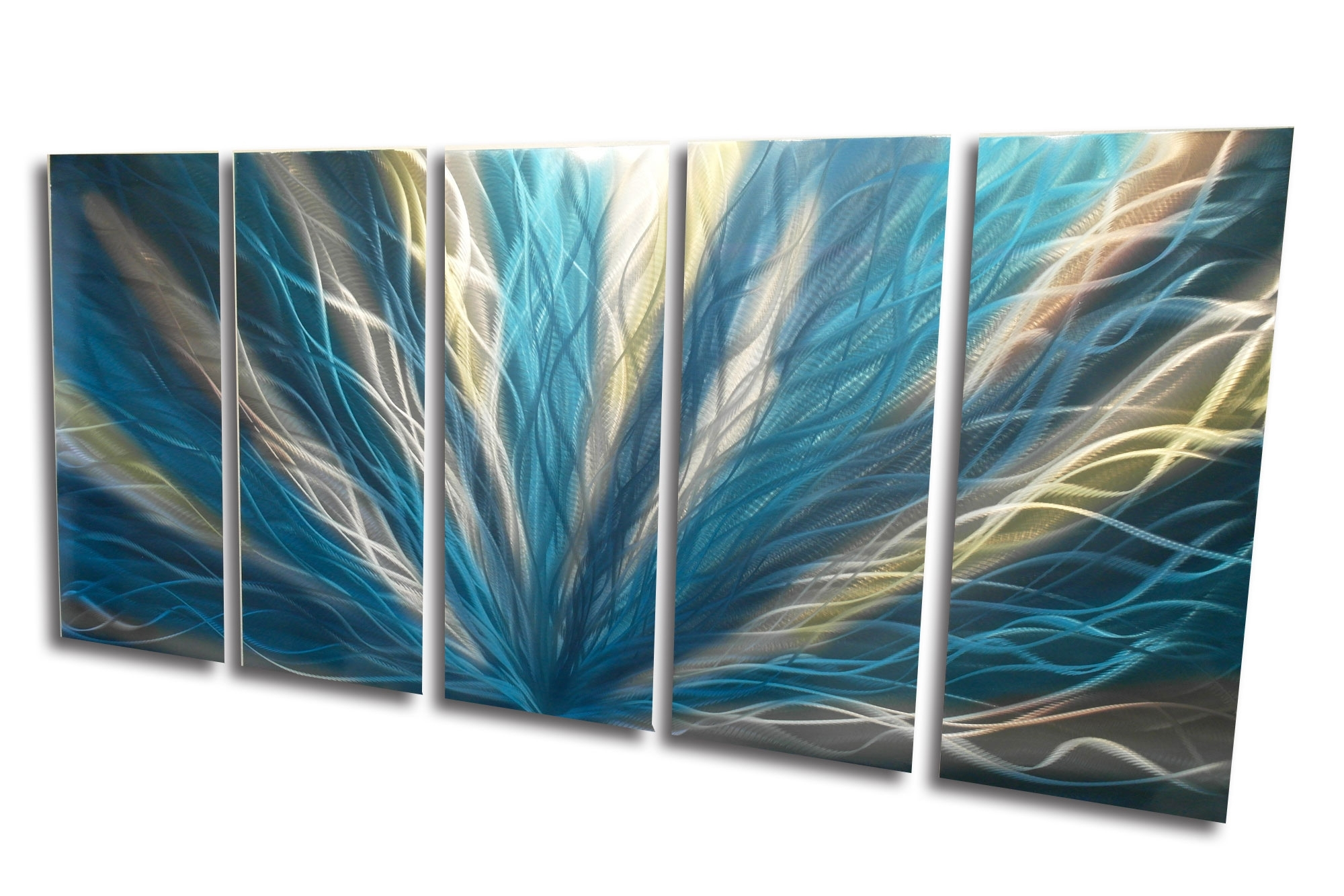 Preferred Radiance Teal 36X79 – Metal Wall Art Abstract Sculpture Modern With Regard To Abstract Leaves Wall Art (View 14 of 15)