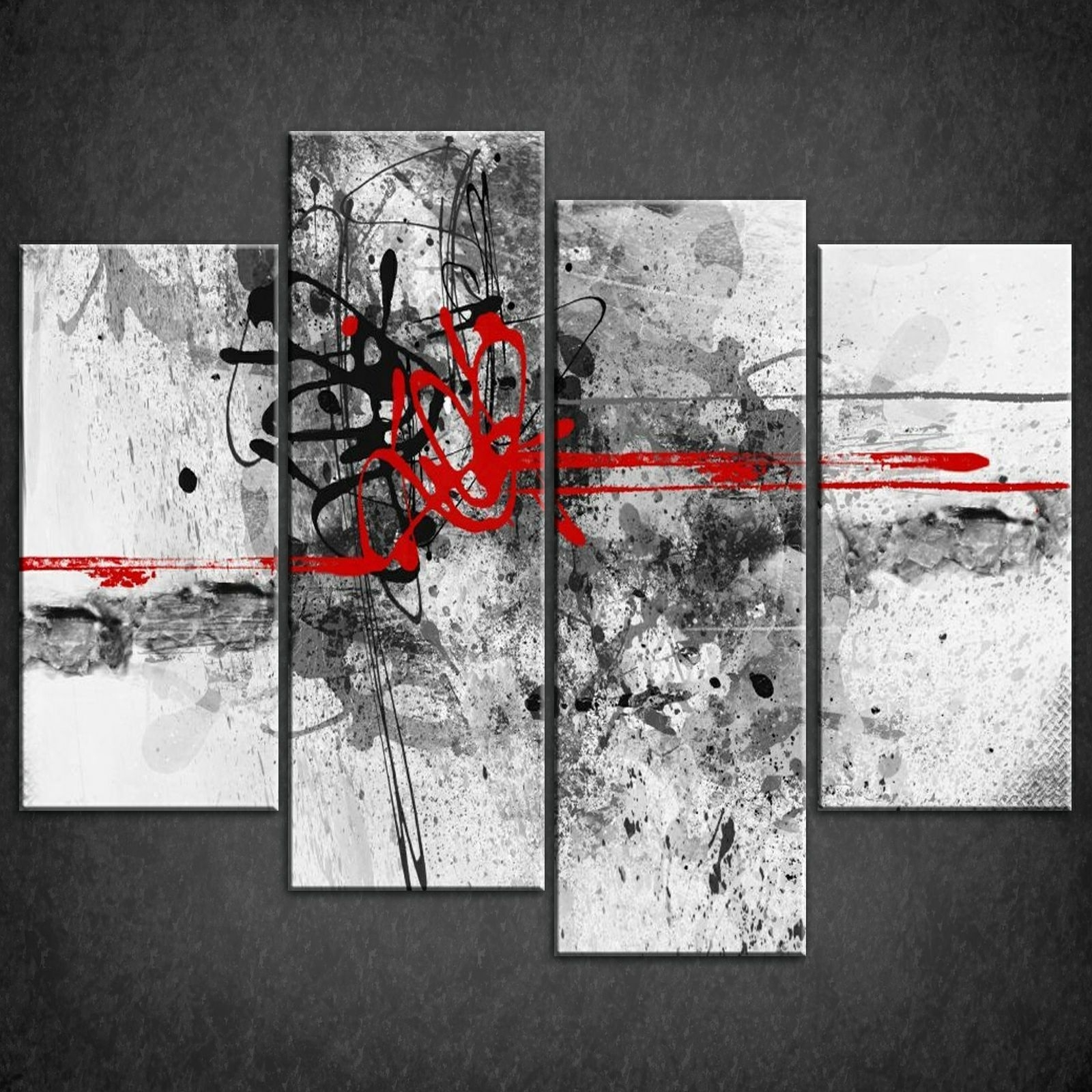 Preferred Red And Black Canvas Wall Art In Decor: Abstract Red Lines Split Canvas Wall Art Pictures Prints (View 11 of 15)