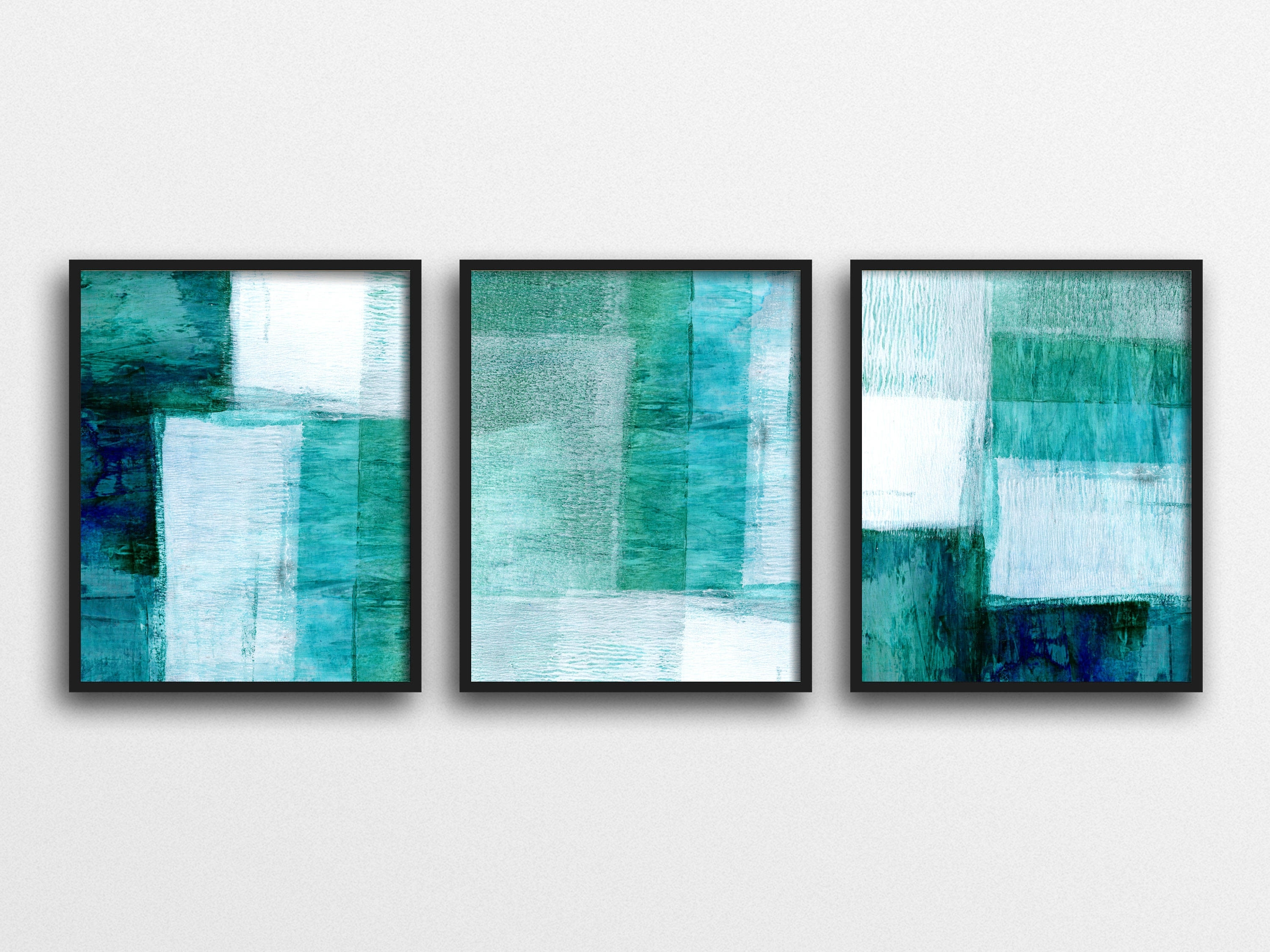Preferred Set Of 3 Prints, Abstract Art, Scandinavian Prints, Geometric Art Throughout Blue Abstract Wall Art (View 7 of 15)