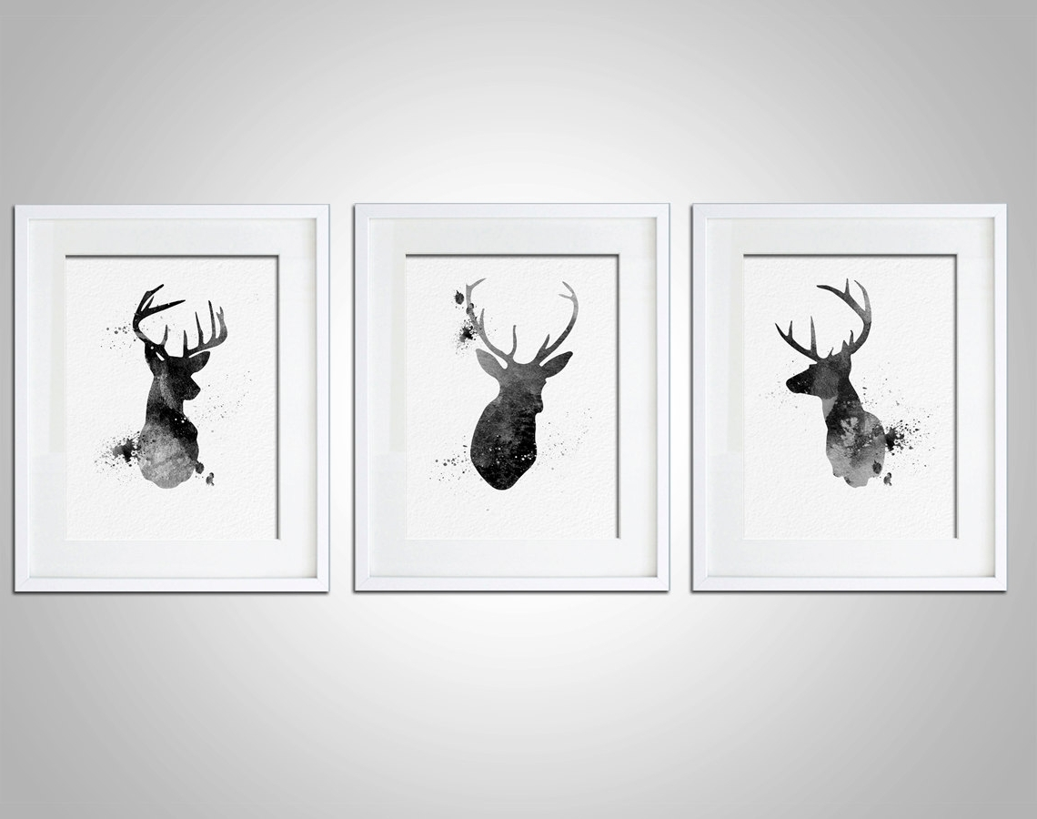 Preferred Stag Wall Art Regarding Watercolor Art Print Neon Deer Head Box Set Of 3 Modern 8x10 Wall (View 14 of 15)