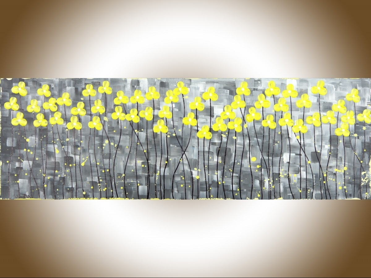 "Preferred Sunshineqiqigallery 36"" X 12"" Original Abstract Painting Gray Inside Yellow And Grey Abstract Wall Art (View 7 of 15)"