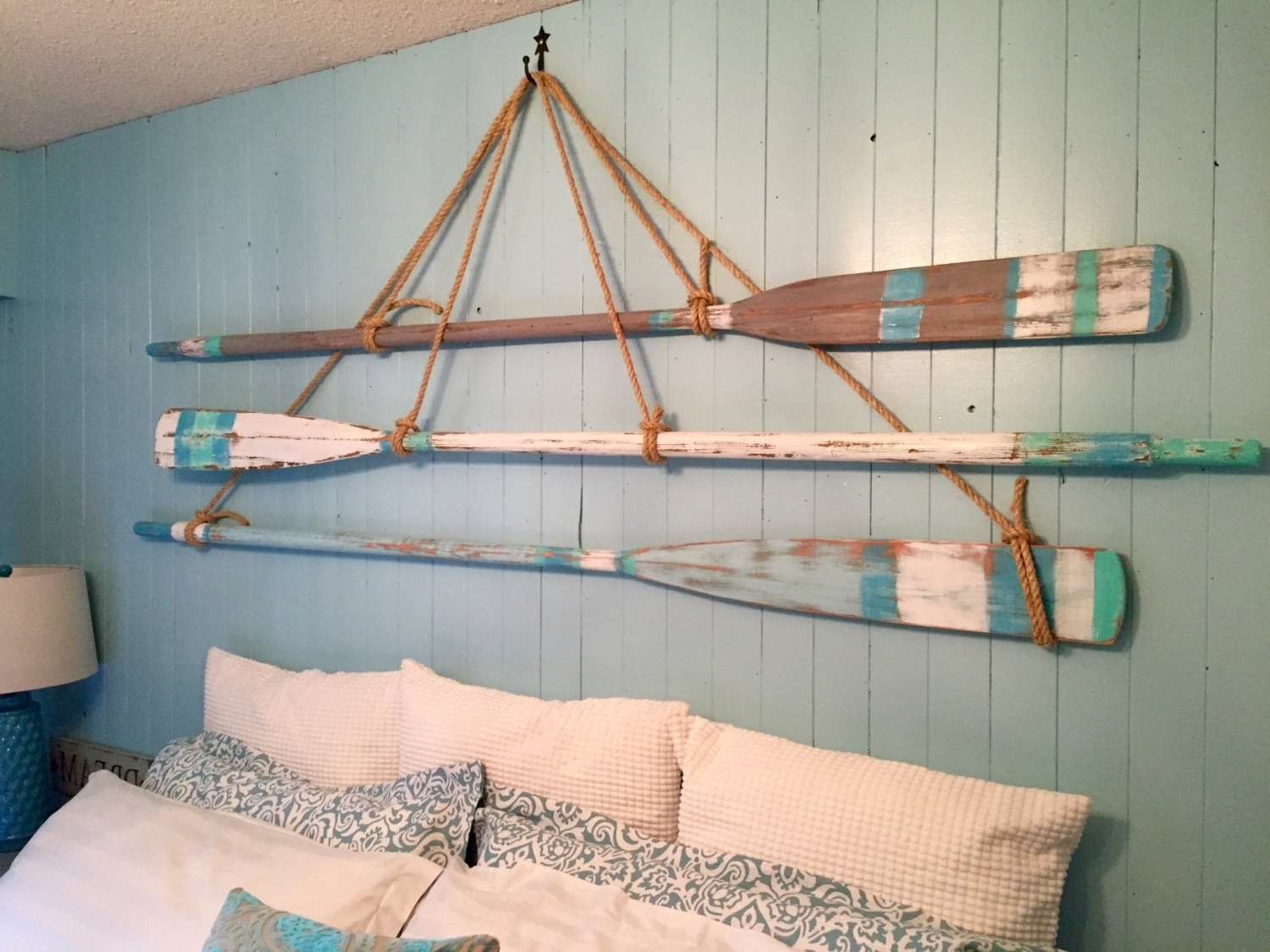 Preferred Vintage Oar Paddle Headboard King Or Queen Size Beach House Style Regarding Beach Cottage Wall Art (View 11 of 15)