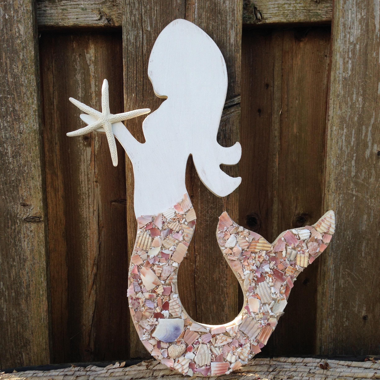 Preferred Wood Mermaid Mermaid Art Mermaids Mermaid Shell Art Regarding Wooden Mermaid Wall Art (View 10 of 15)
